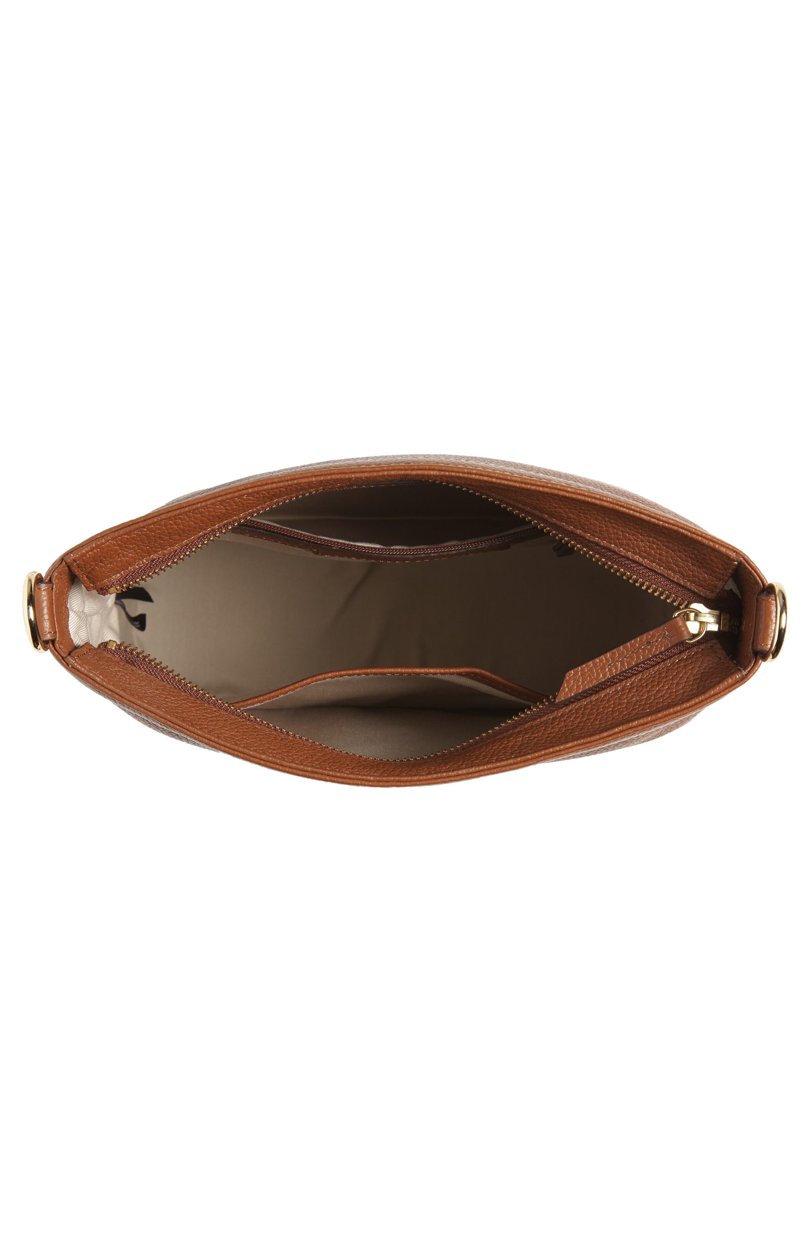 NORDSTROM,                             Maribel Leather Crossbody Bag,                             Alternate thumbnail 4, color,                             BROWN AZTEC