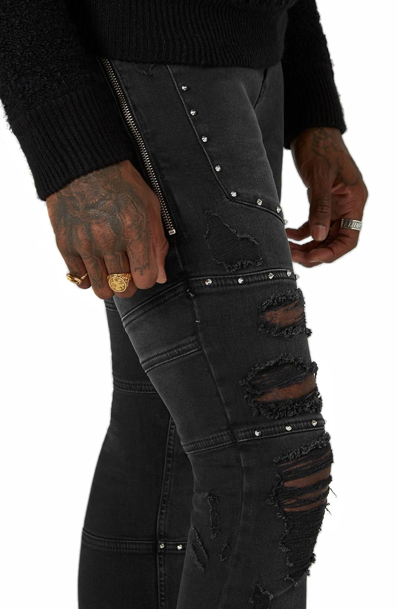 Studded Spray-On Biker Jeans,                             Alternate thumbnail 3, color,                             001