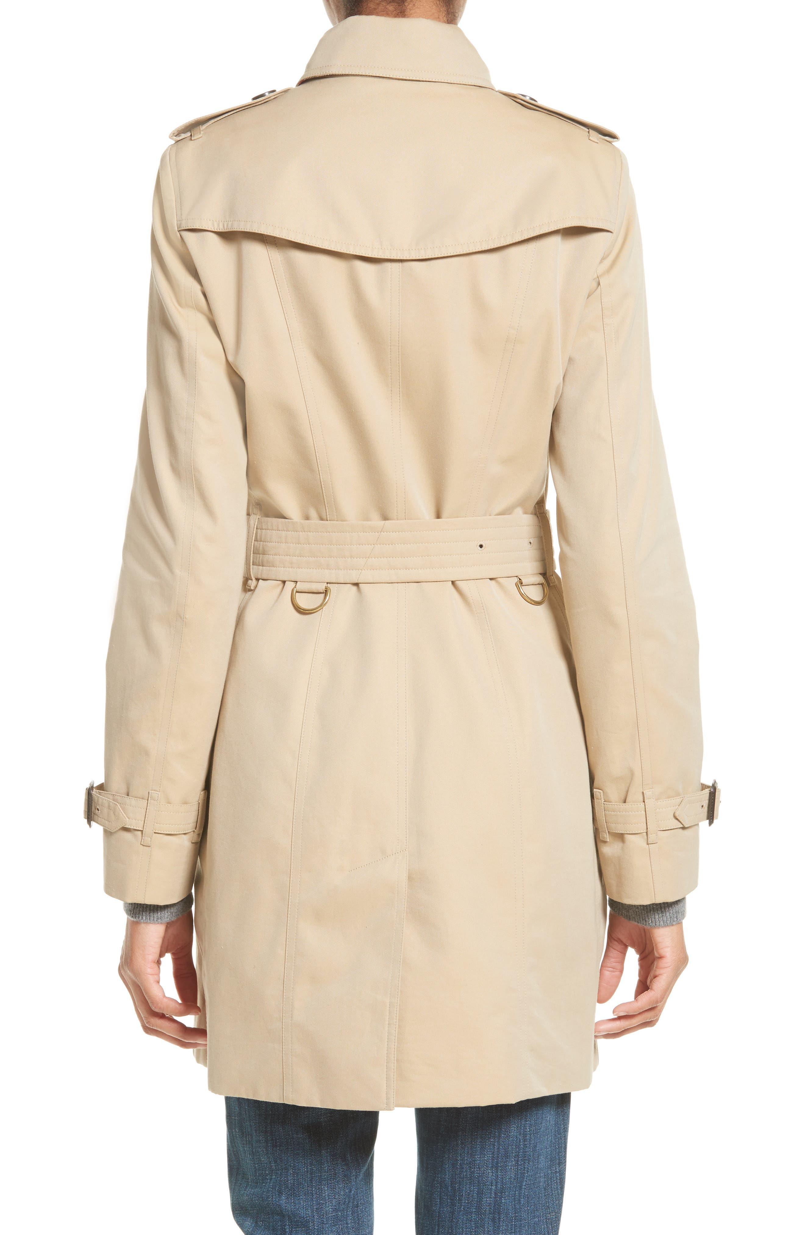 BURBERRY,                             Sandringham Mid Slim Trench Coat,                             Alternate thumbnail 2, color,                             HONEY