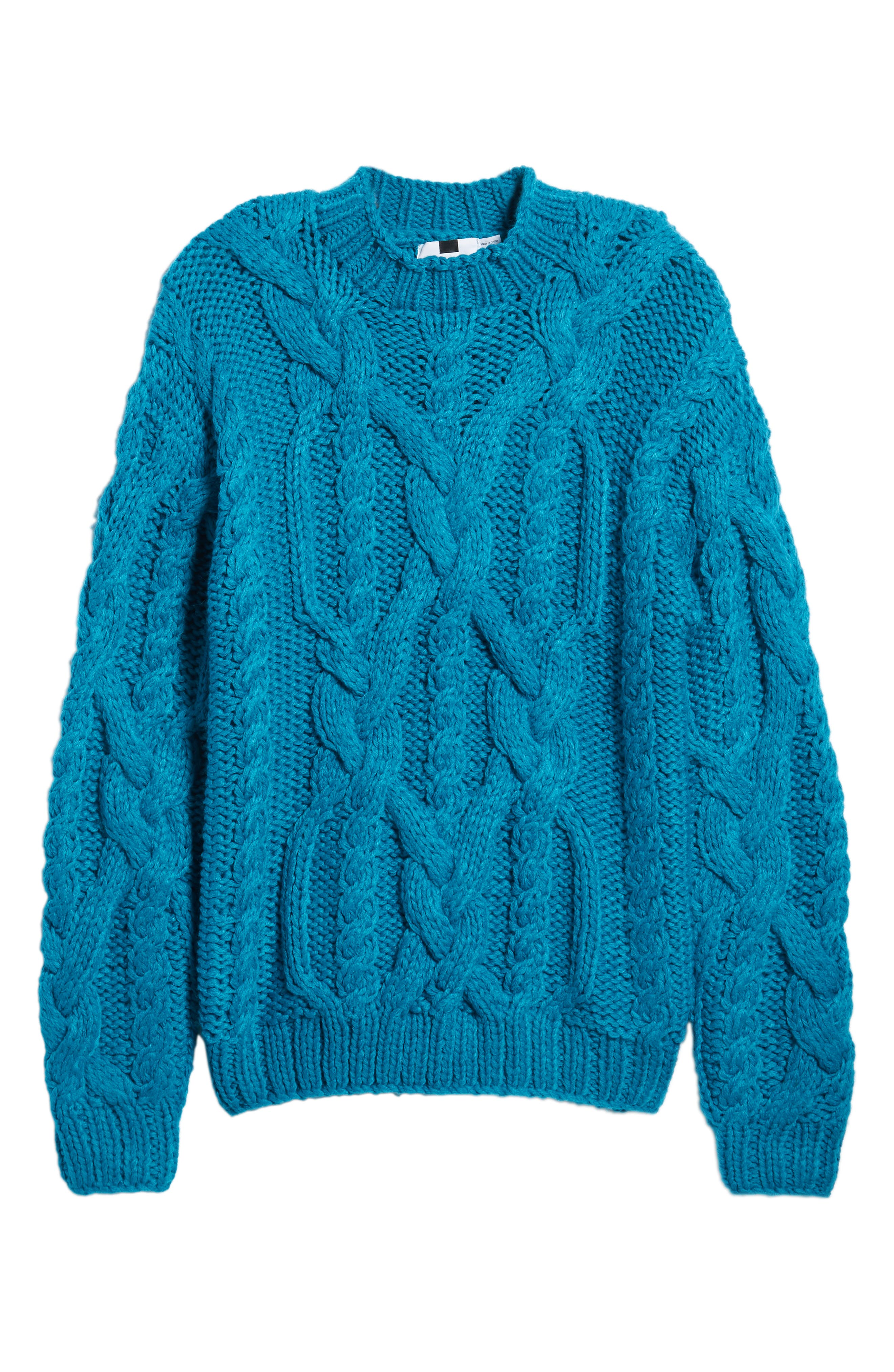 Classic Cable Knit Sweater,                             Alternate thumbnail 6, color,                             BLUE