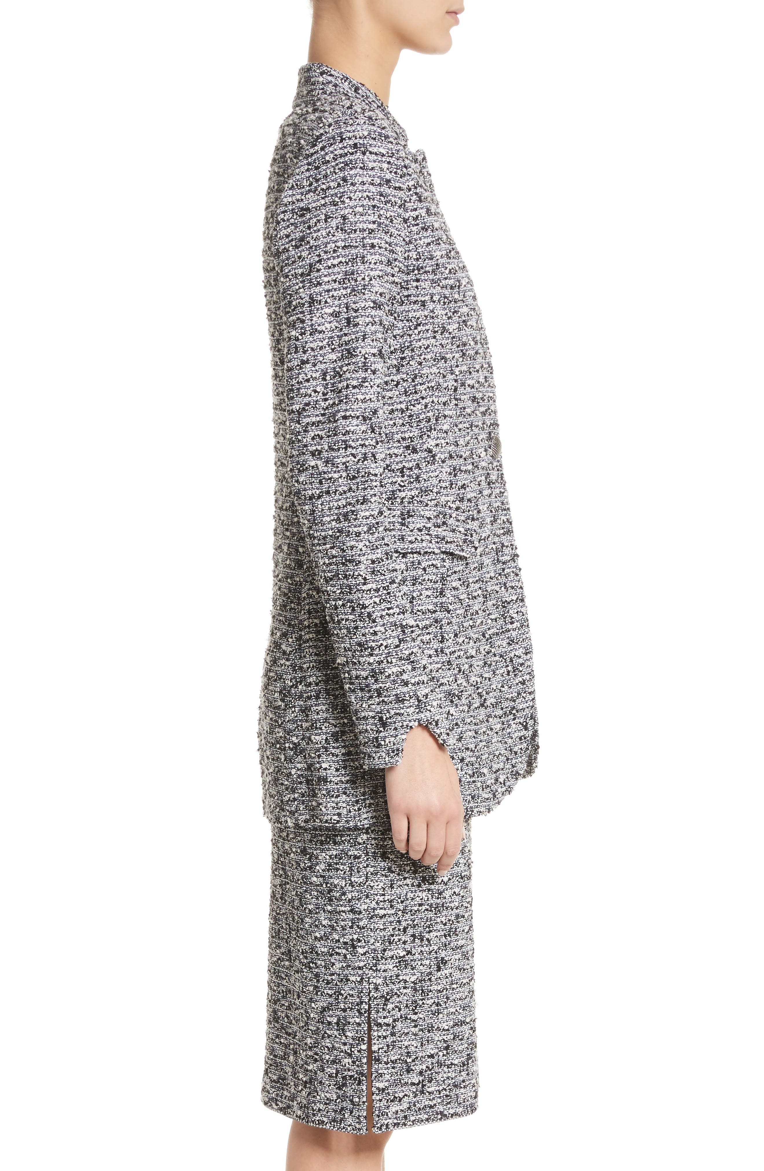 Micro Tweed Blazer,                             Alternate thumbnail 3, color,                             001
