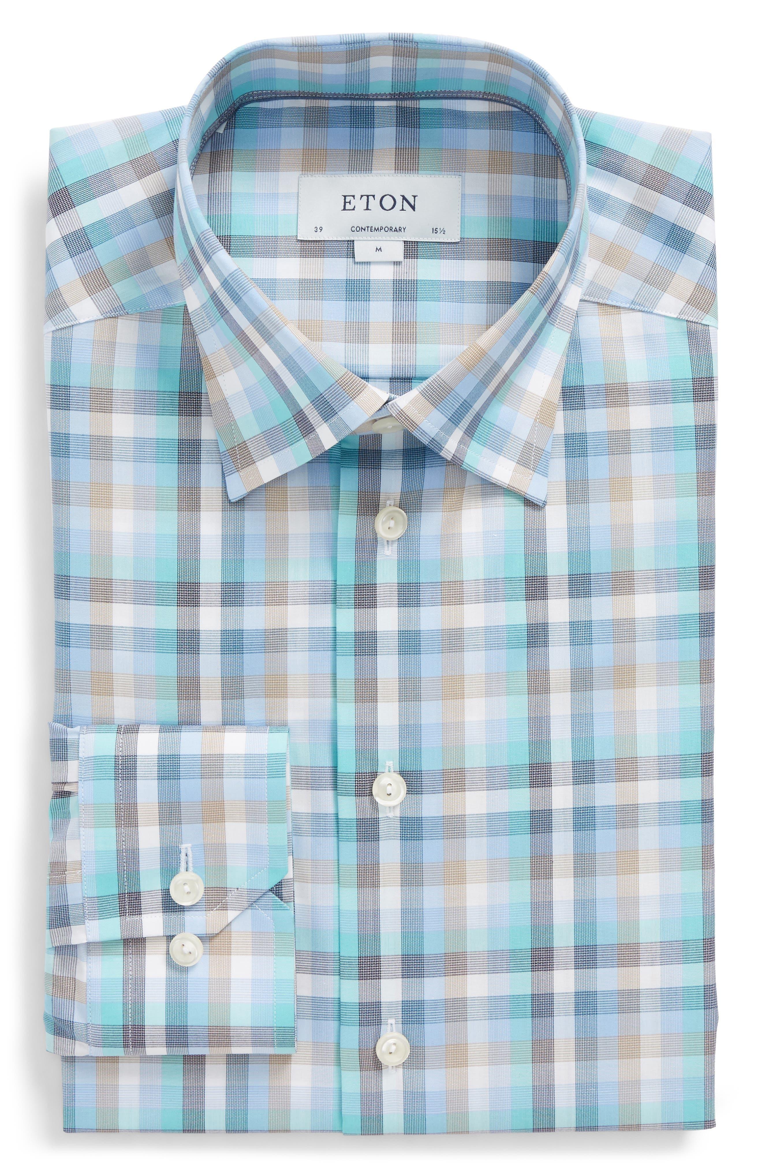 Contemporary Fit Plaid Dress Shirt,                             Alternate thumbnail 5, color,                             BLUE