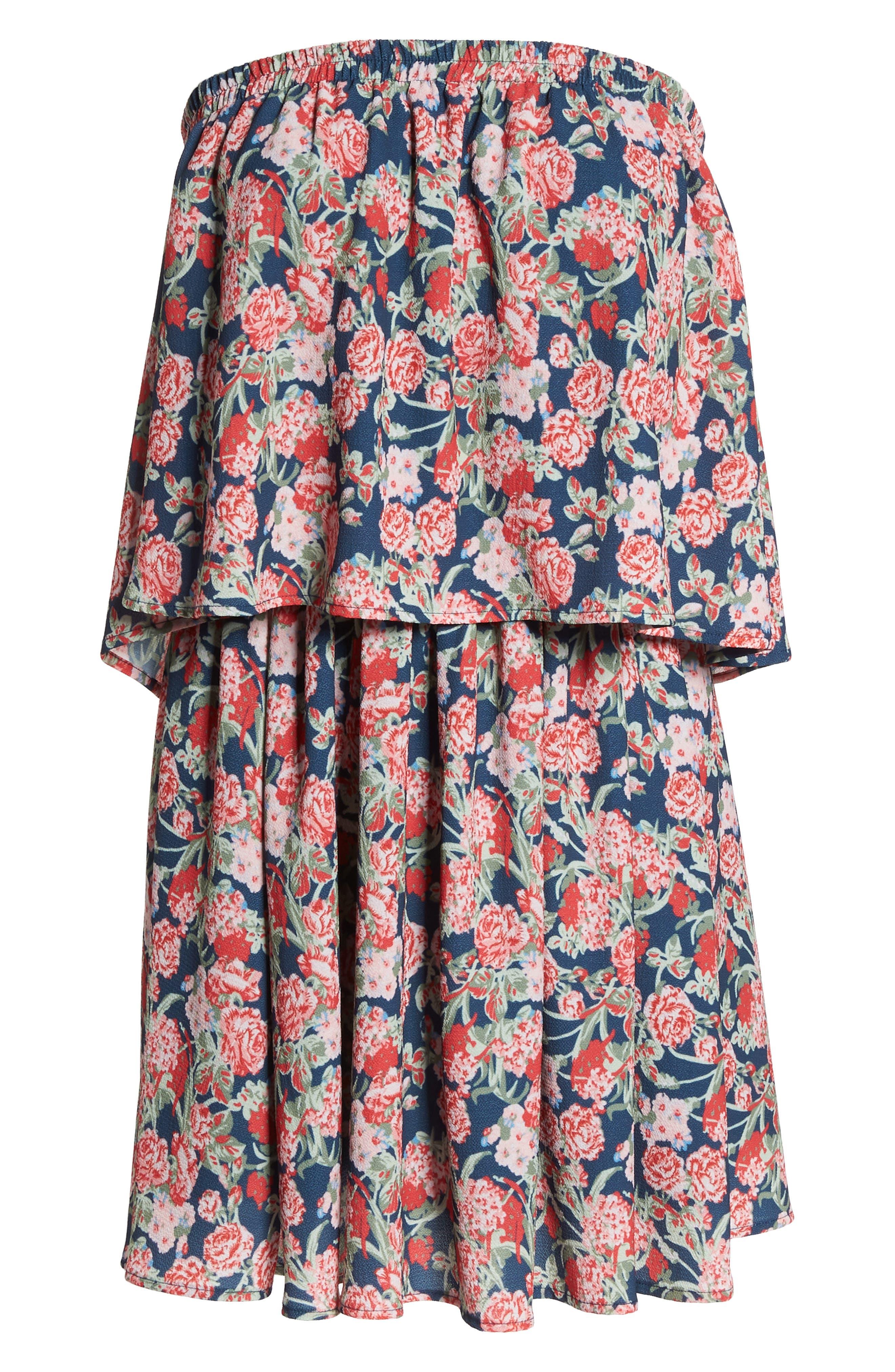 Print Strapless Popover Dress,                             Alternate thumbnail 7, color,