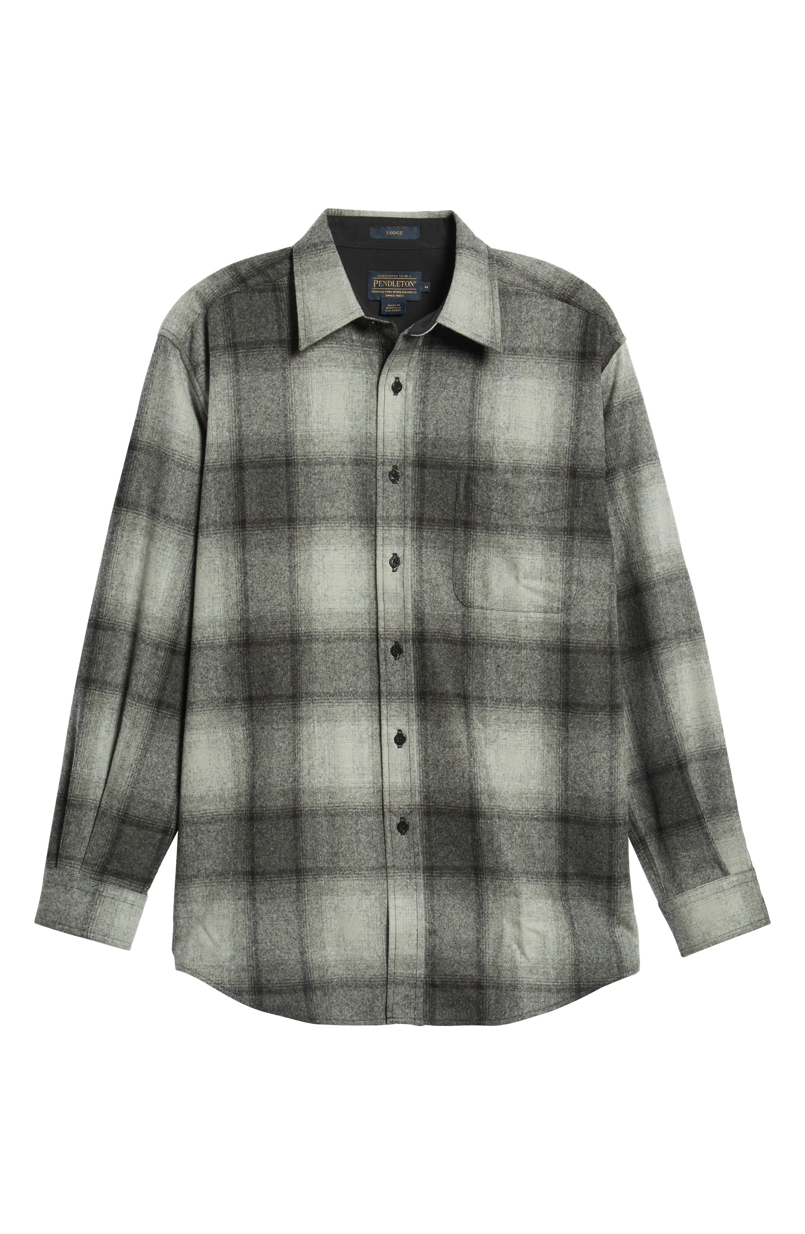 Lodge Wool Flannel Shirt,                             Alternate thumbnail 5, color,                             BLACK/ GREY MIX OMBRE