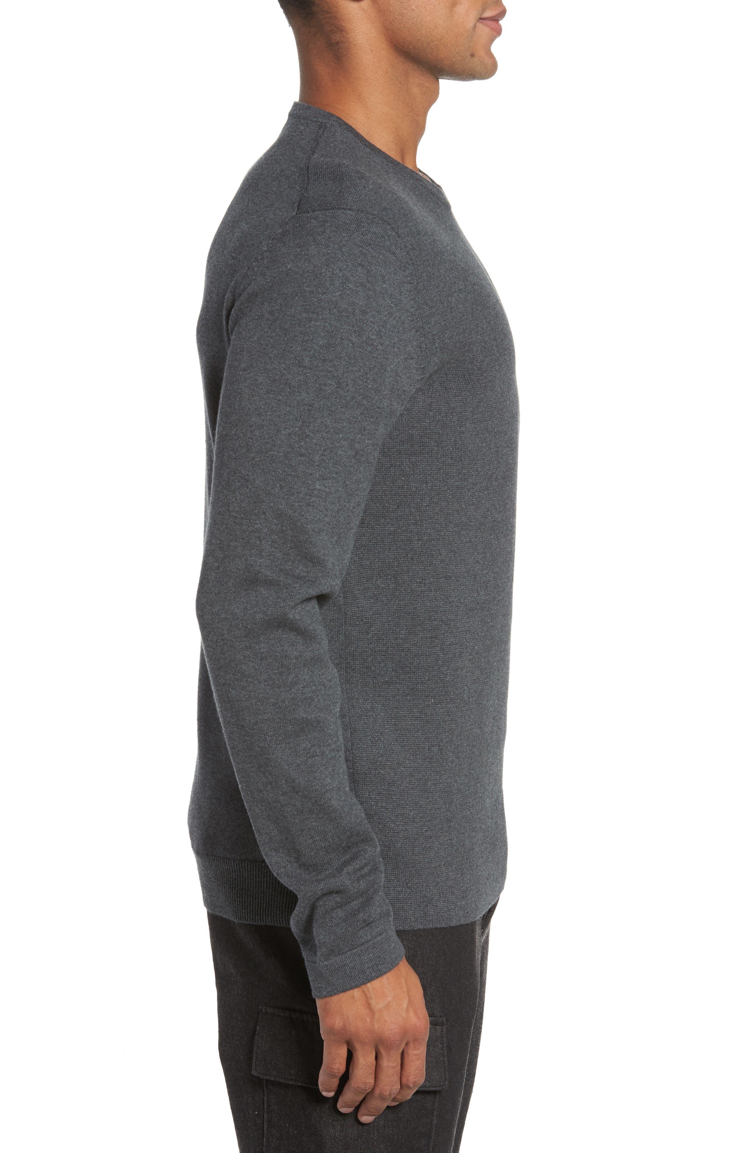 Milano Front Regular Fit Cotton Sweater,                             Alternate thumbnail 3, color,                             CHARCOAL MELANGE