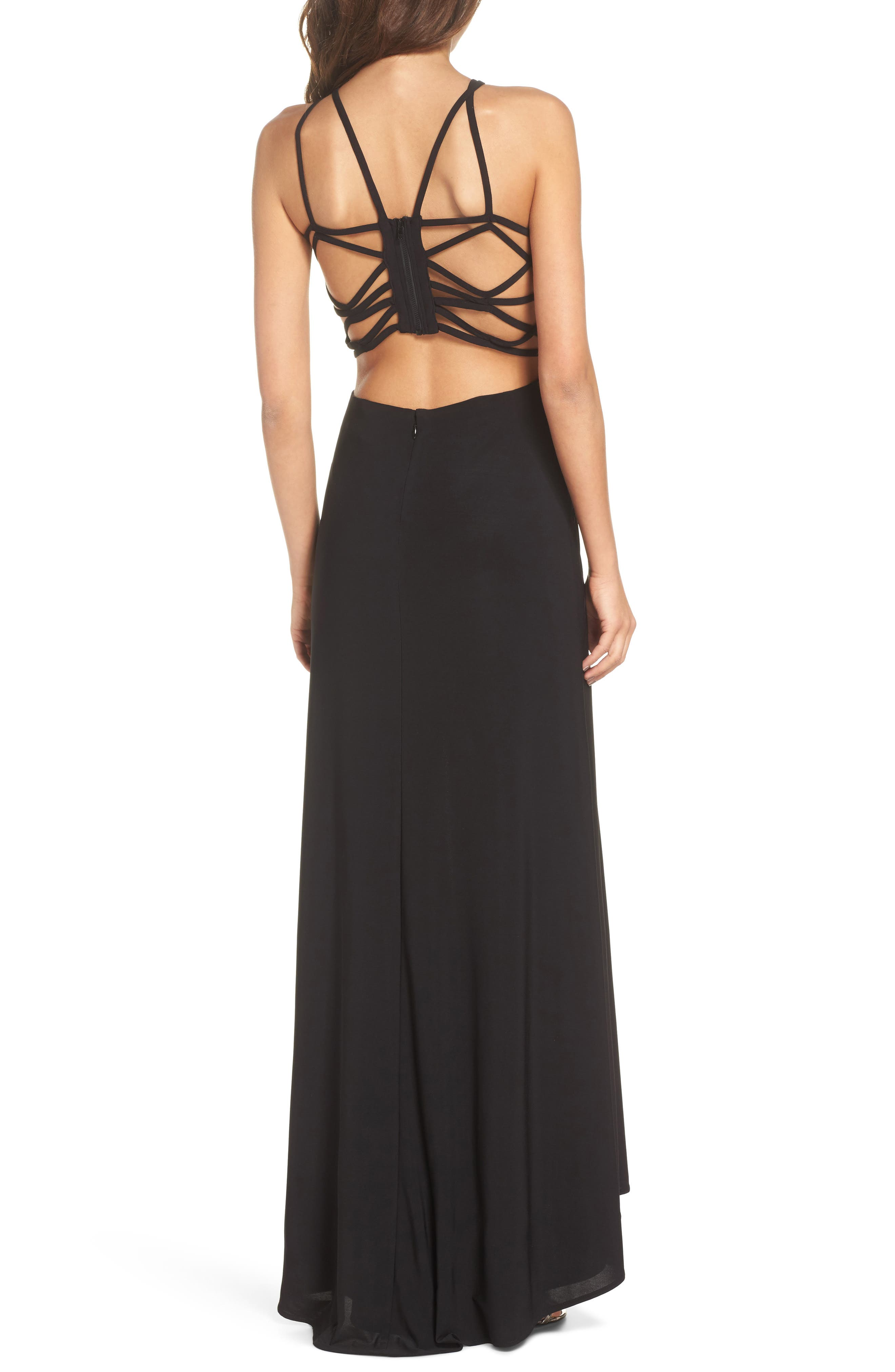 Strappy Trumpet Gown,                             Alternate thumbnail 2, color,                             BLACK