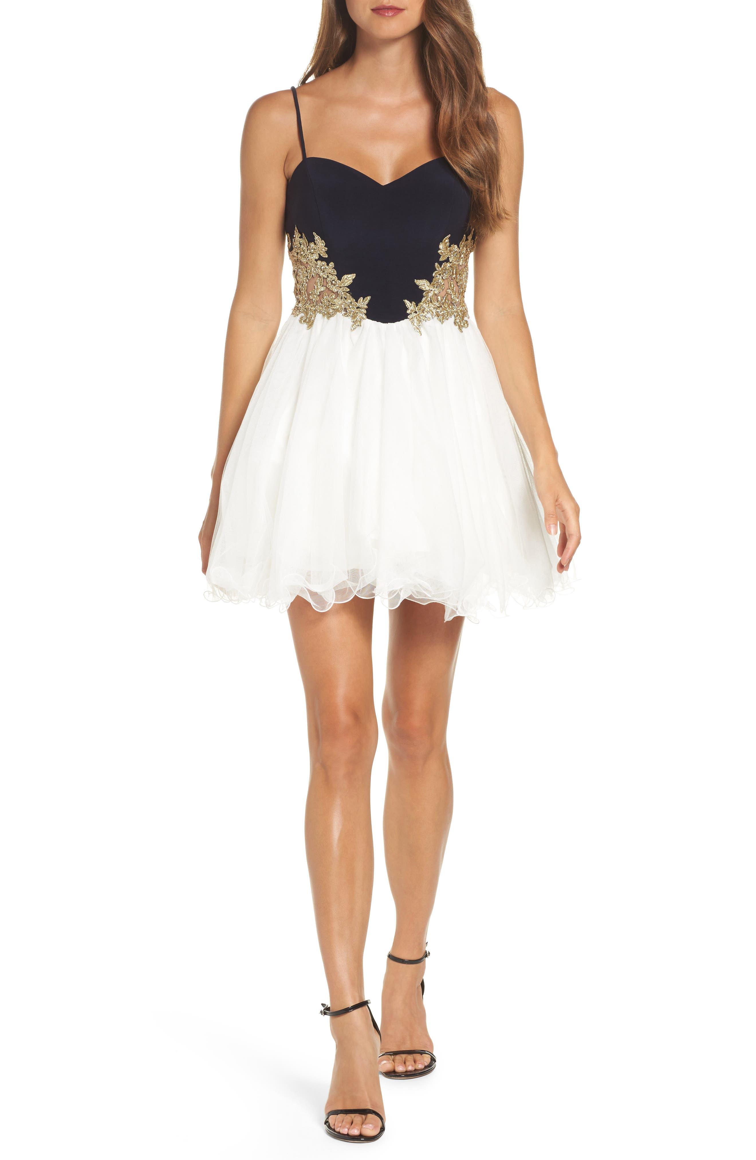 Colorblock Appliqué Skater Dress,                         Main,                         color,