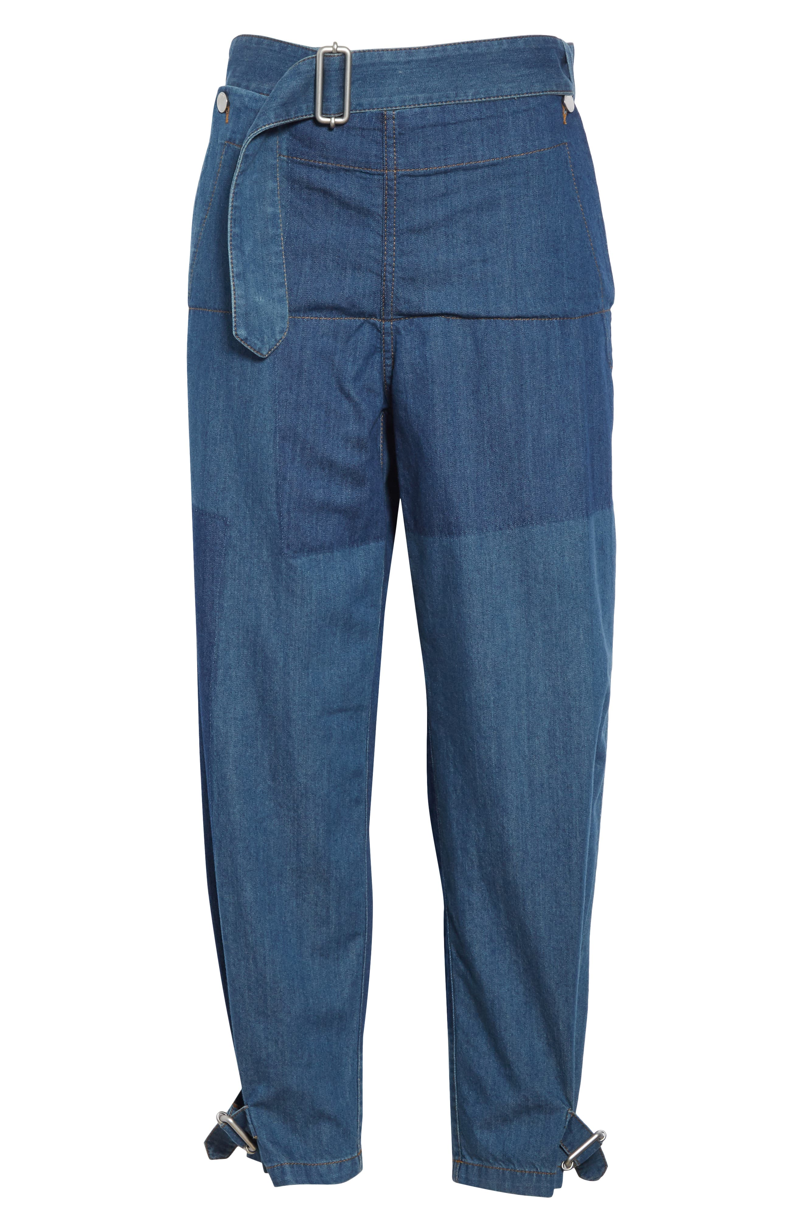 JW ANDERSON,                             Fold Front Jeans,                             Alternate thumbnail 6, color,                             MID BLUE