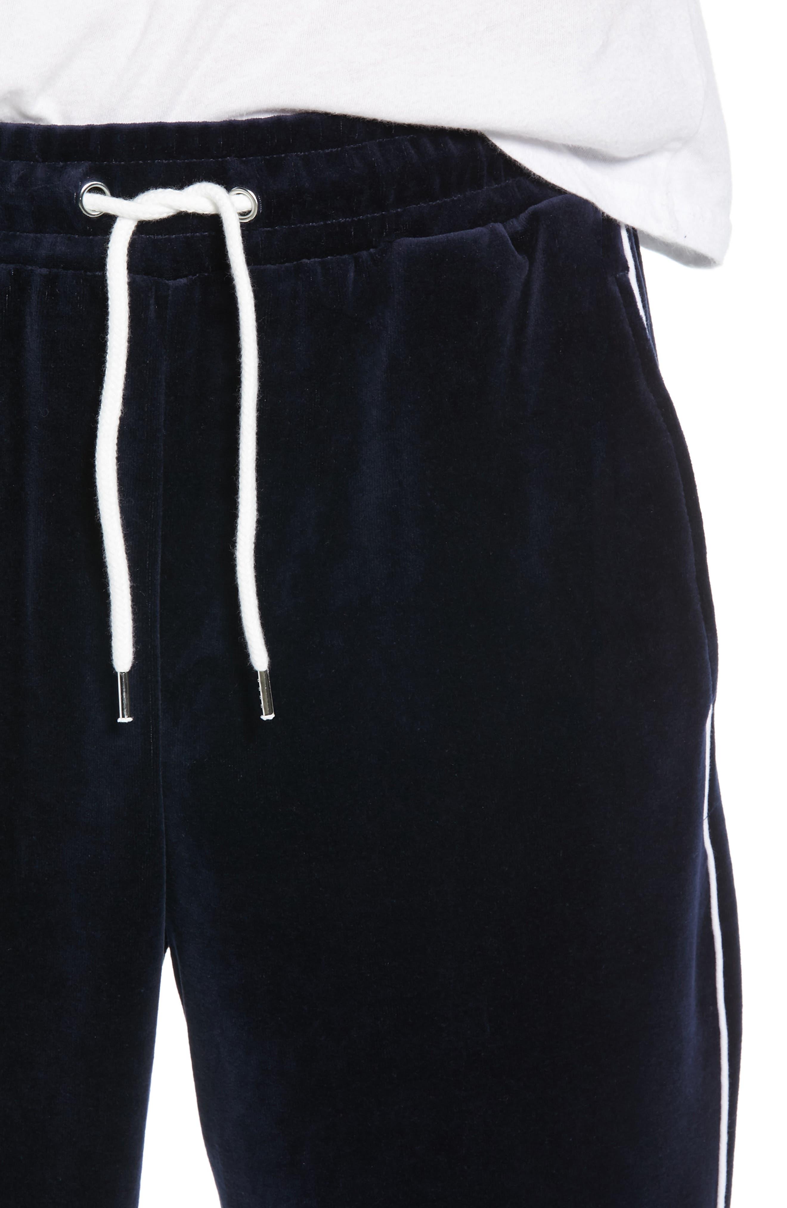 Velour Pants,                             Alternate thumbnail 4, color,                             NAVY BLUE