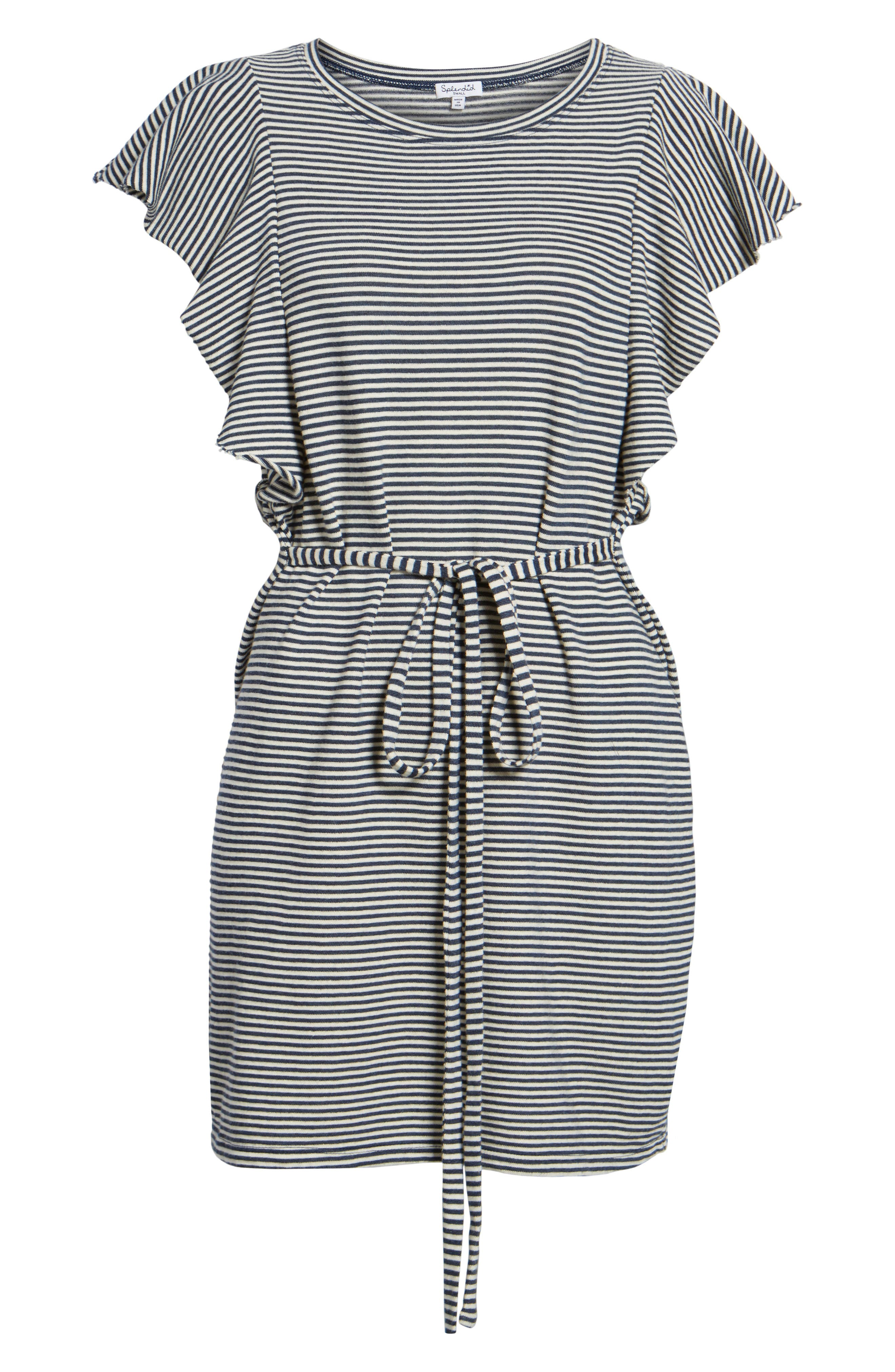 Stripe Ruffle Dress,                             Alternate thumbnail 6, color,                             409