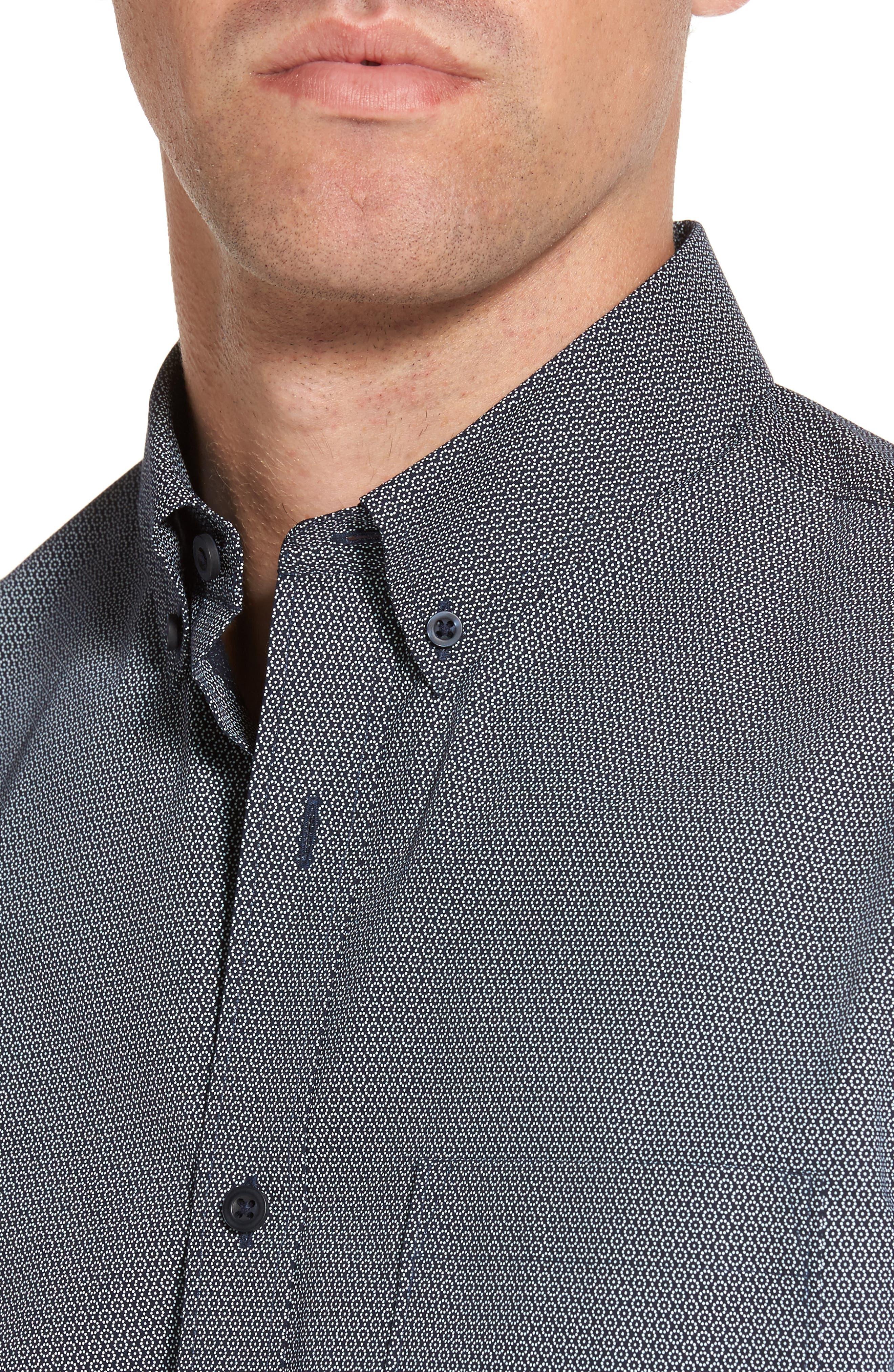 Slim Fit Non-Iron Dot Print Sport Shirt,                             Alternate thumbnail 4, color,                             410