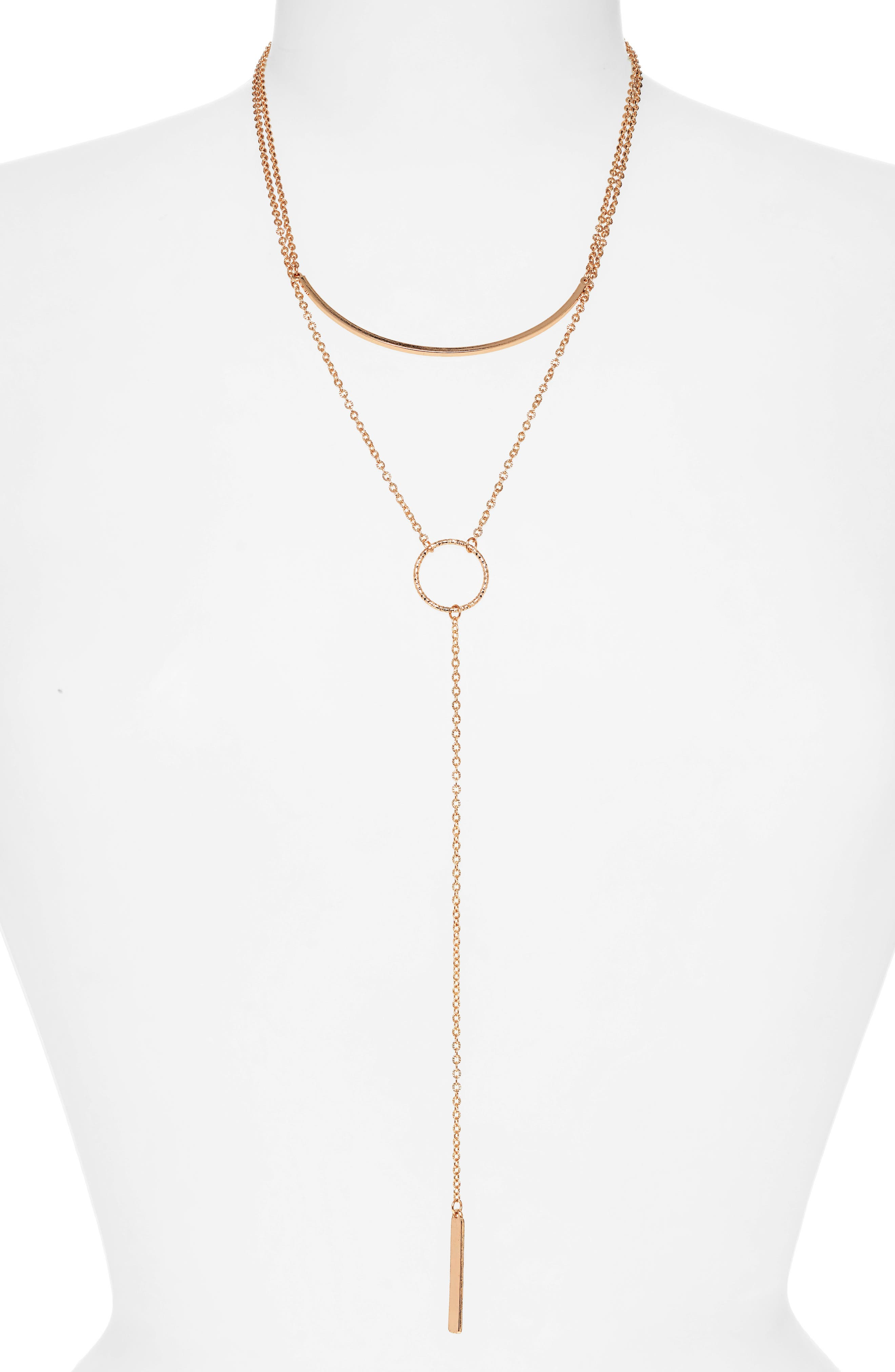 PANACEA Bar Circle Layered Y-Necklace in Gold