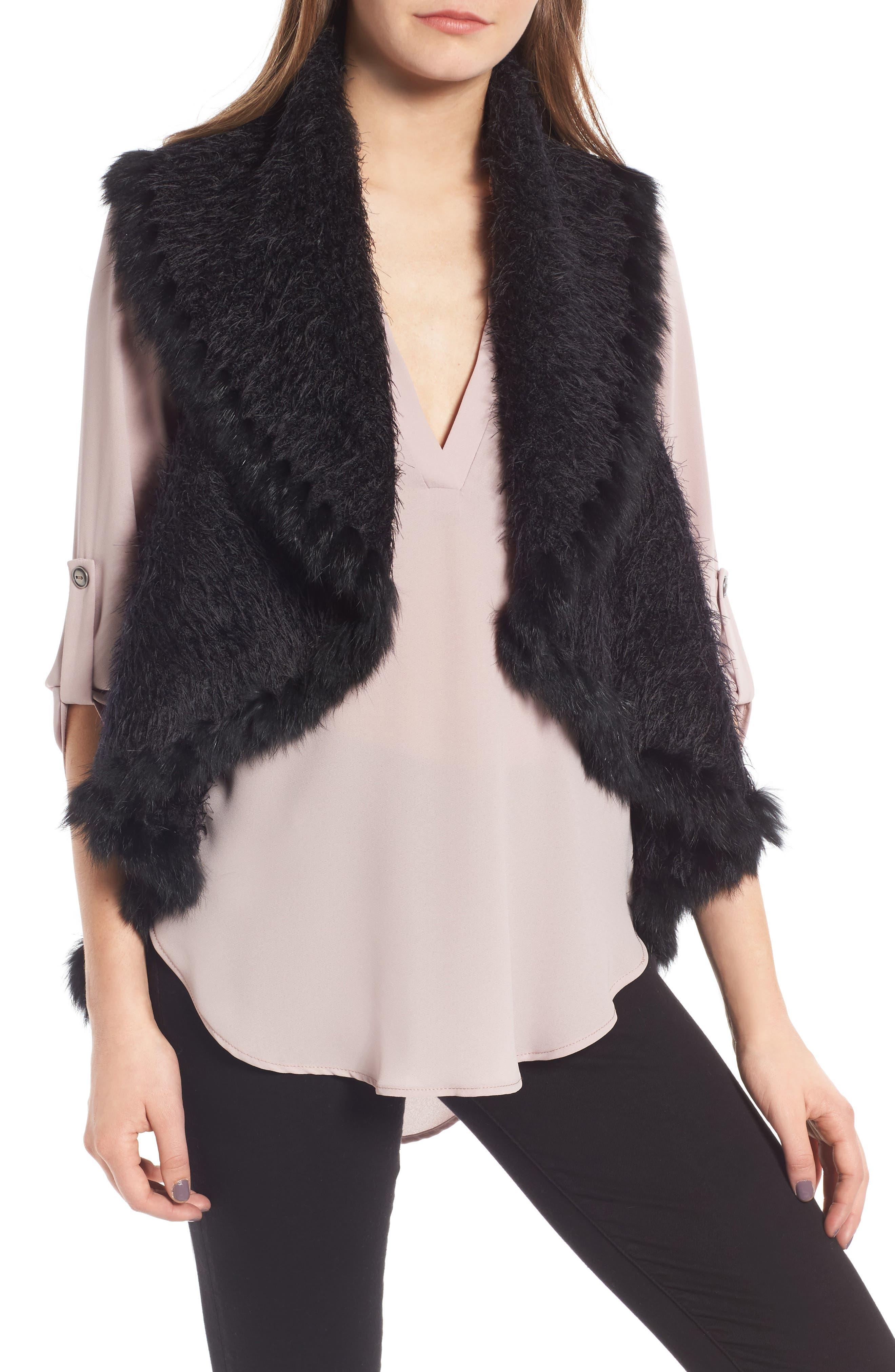 Knit Vest with Genuine Rabbit Fur Trim,                         Main,                         color,