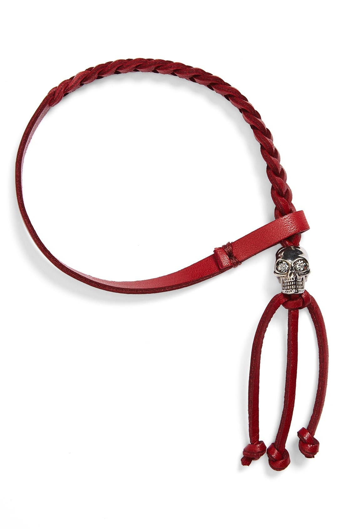 ALEXANDER MCQUEEN Skull Braided Leather Bracelet, Main, color, 600