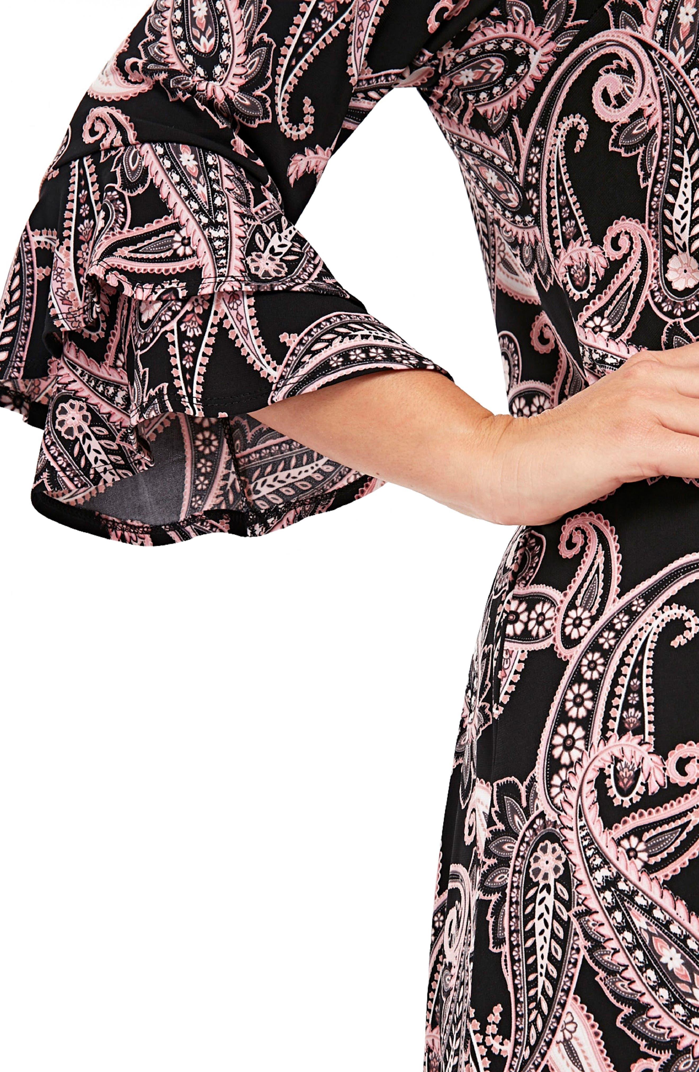 Paisley Fluted Sleeve Dress,                             Alternate thumbnail 3, color,                             001