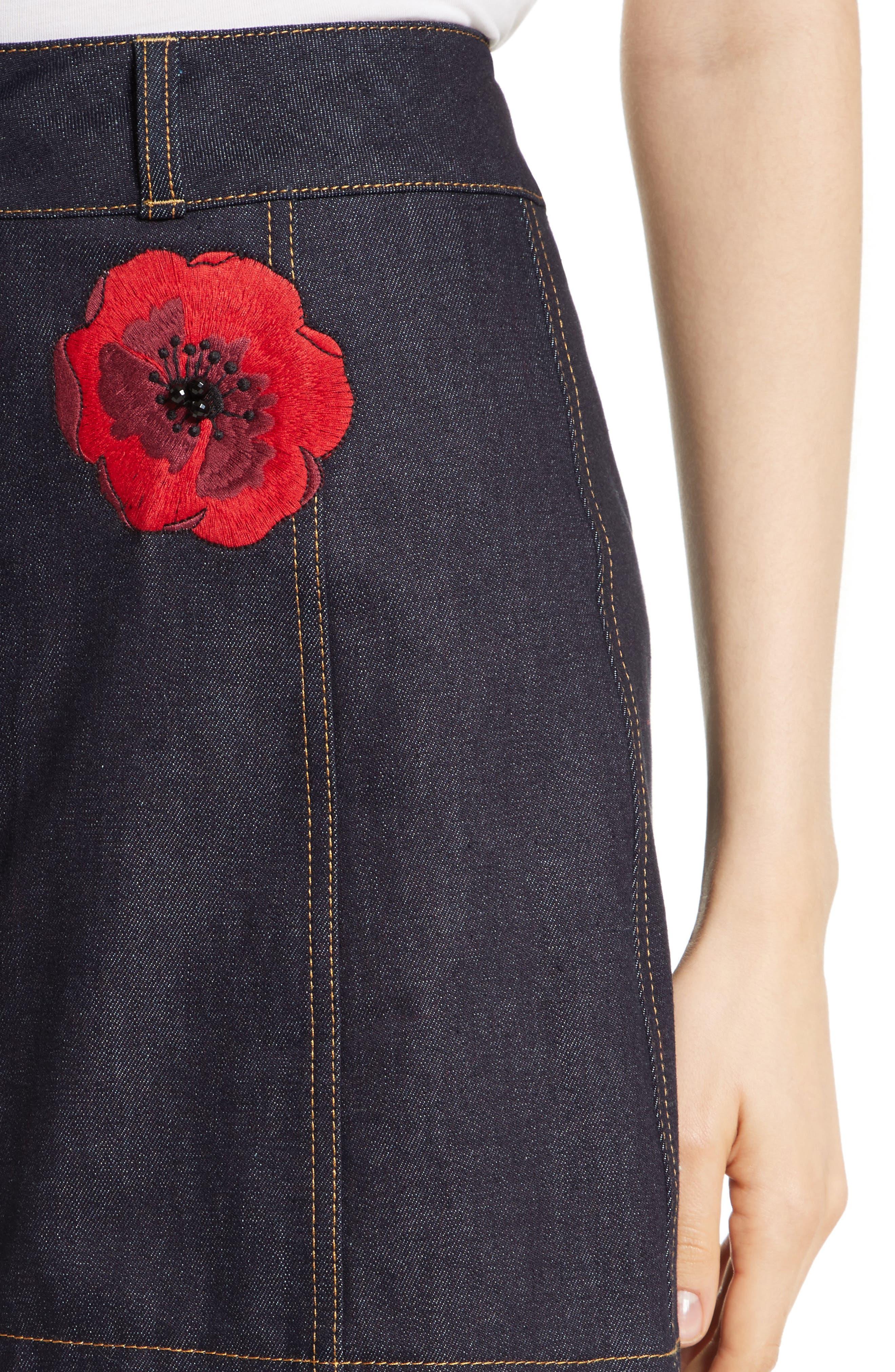 poppy denim skirt,                             Alternate thumbnail 4, color,                             429