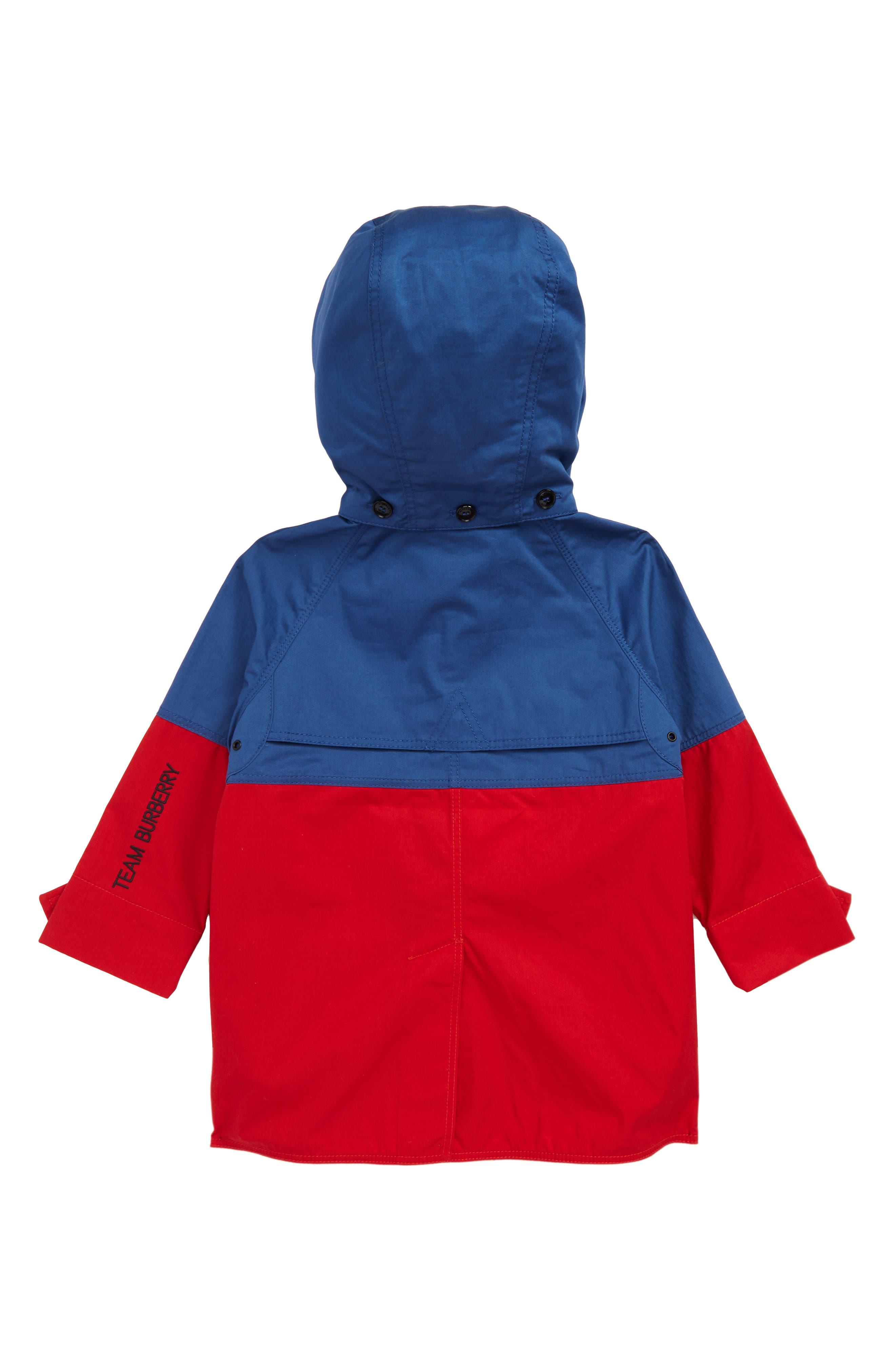 BURBERRY,                             Hunter Color Block Waterproof Hooded Coat,                             Alternate thumbnail 2, color,                             DUSTY BLUE