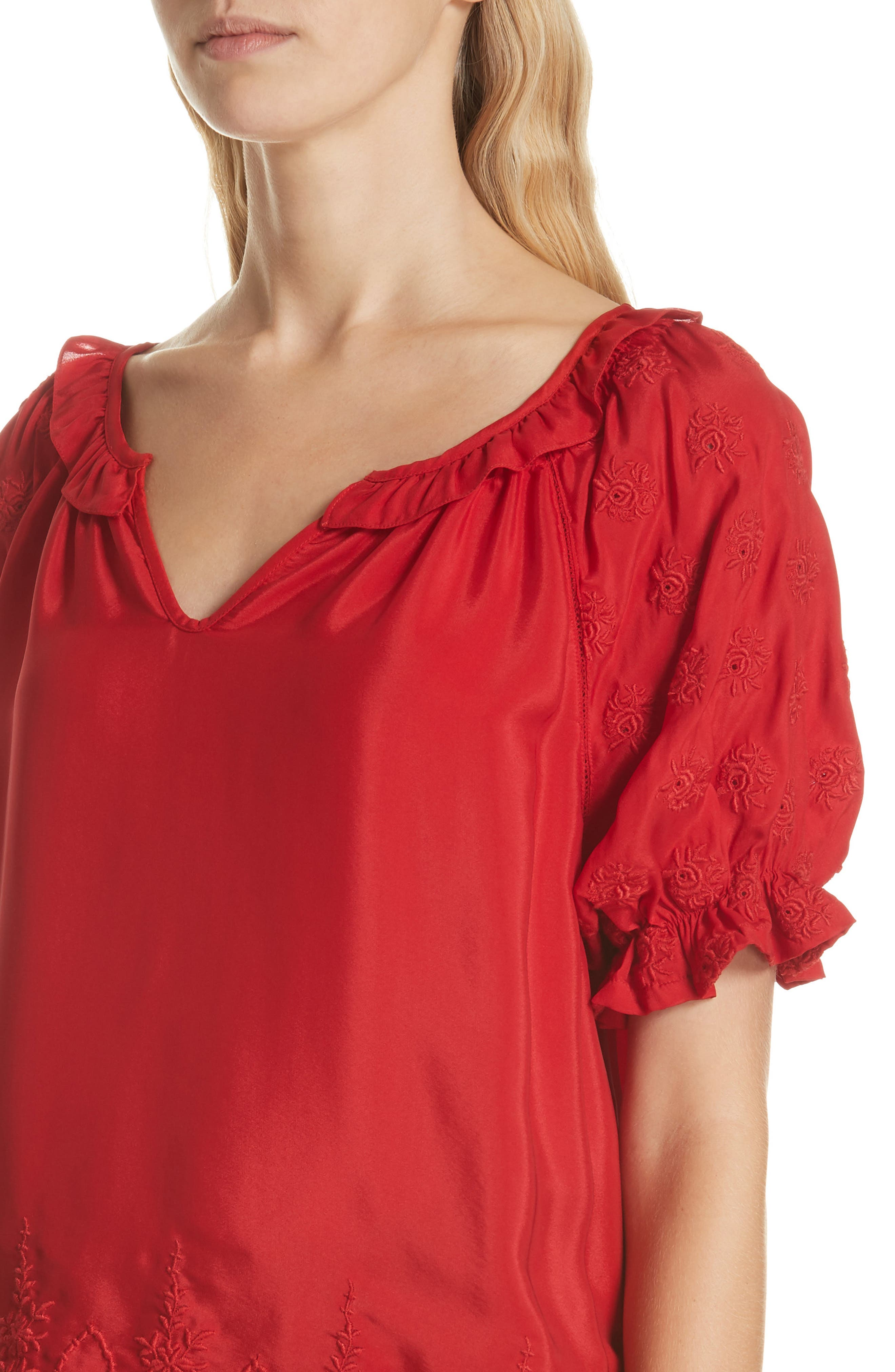 Wish Embroidered Silk Top,                             Alternate thumbnail 4, color,                             VALENTINE