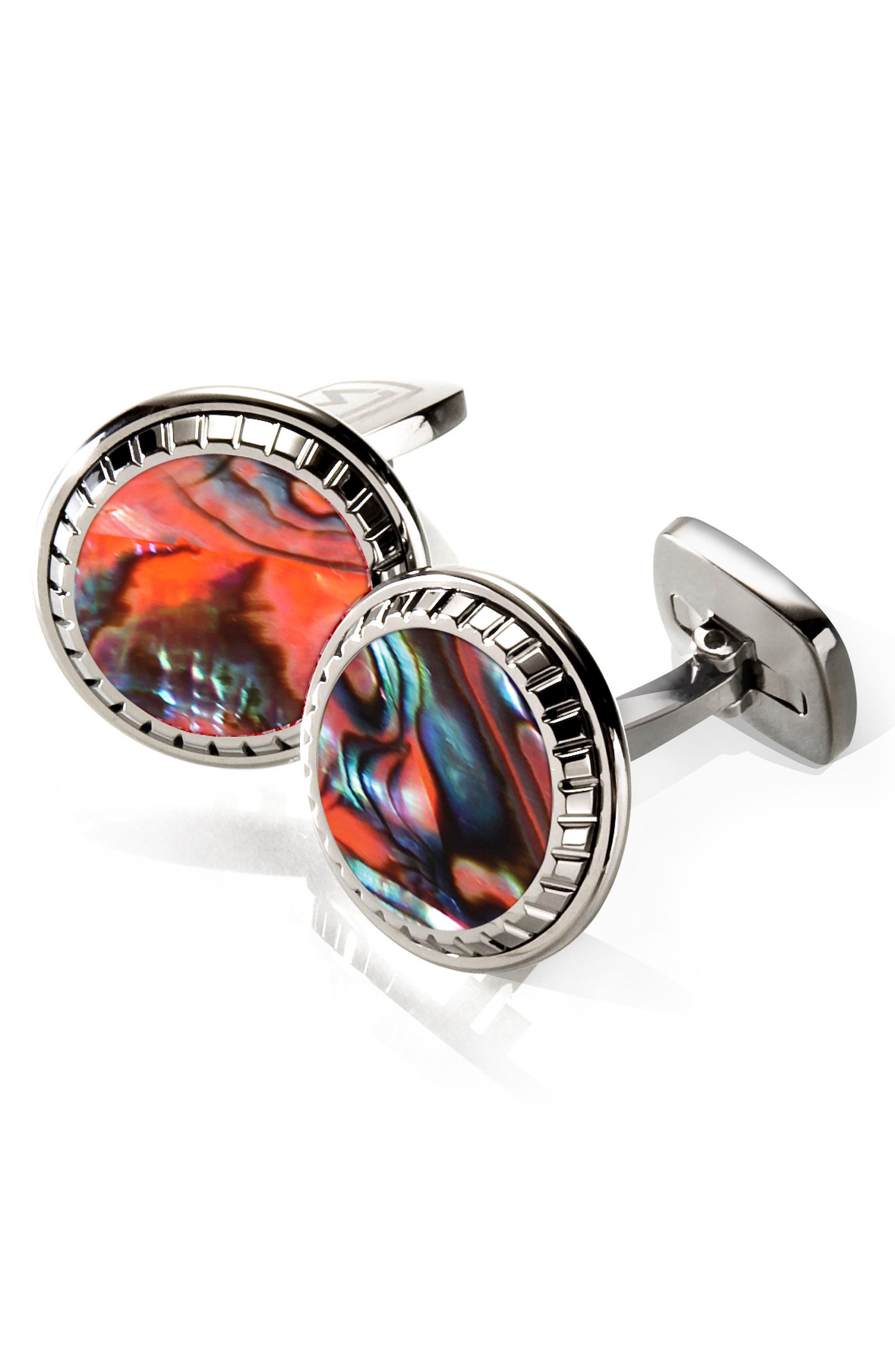 Abalone Cuff Links,                         Main,                         color, ORANGE