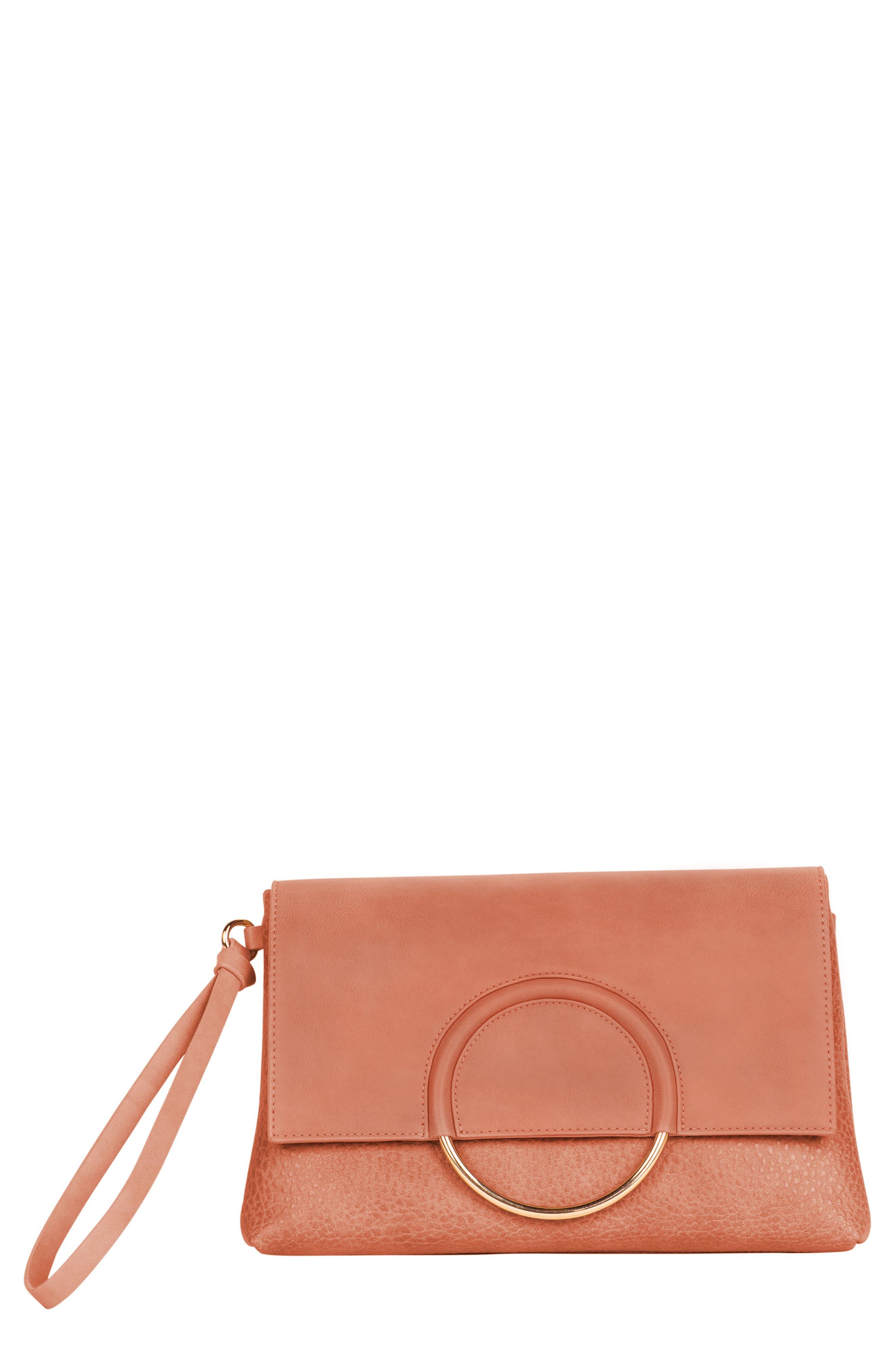 Custom Vegan Leather Wristlet Clutch,                             Main thumbnail 1, color,                             ROSE PINK