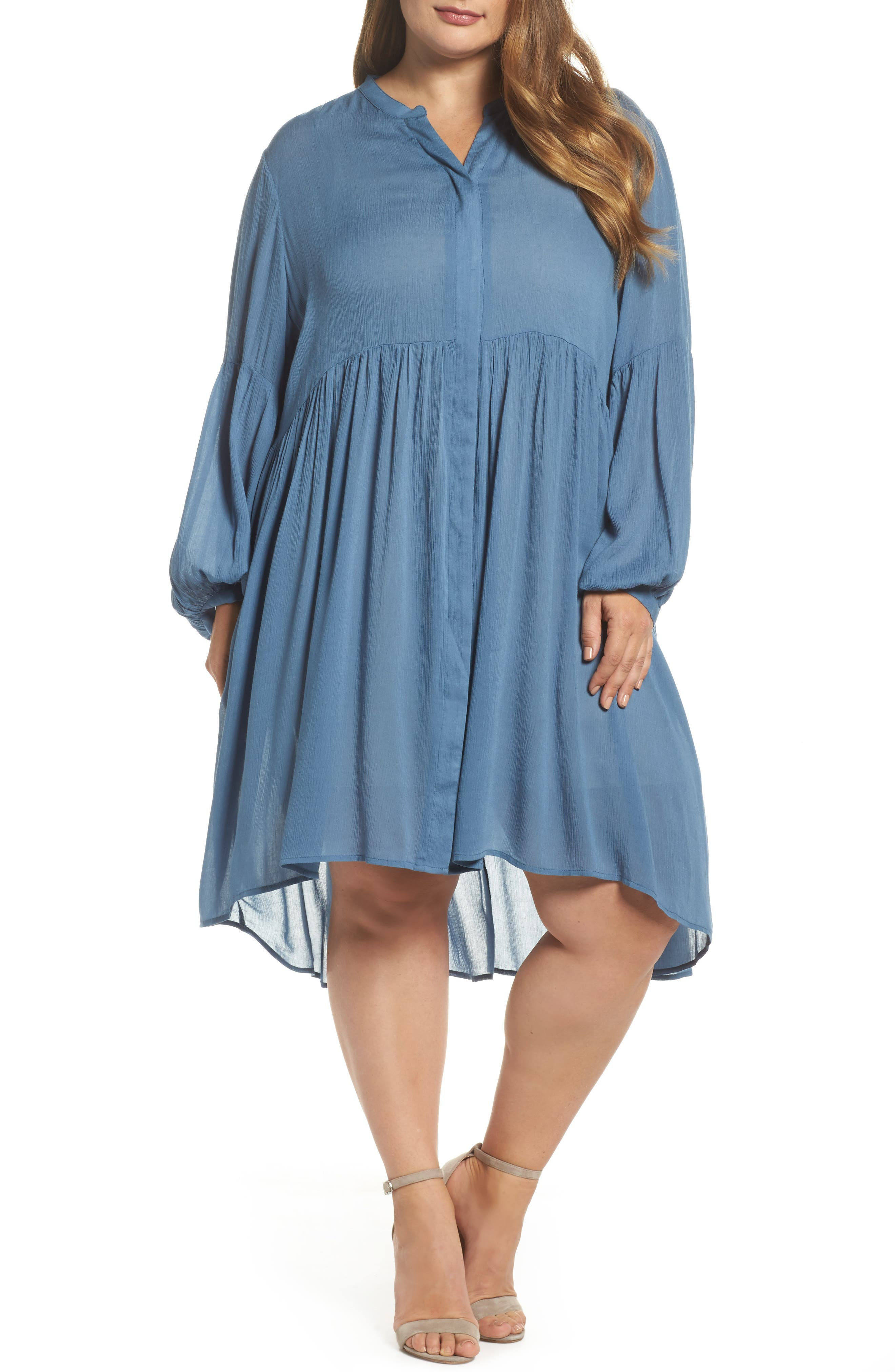 Button Front Shirtdress,                         Main,                         color, 455