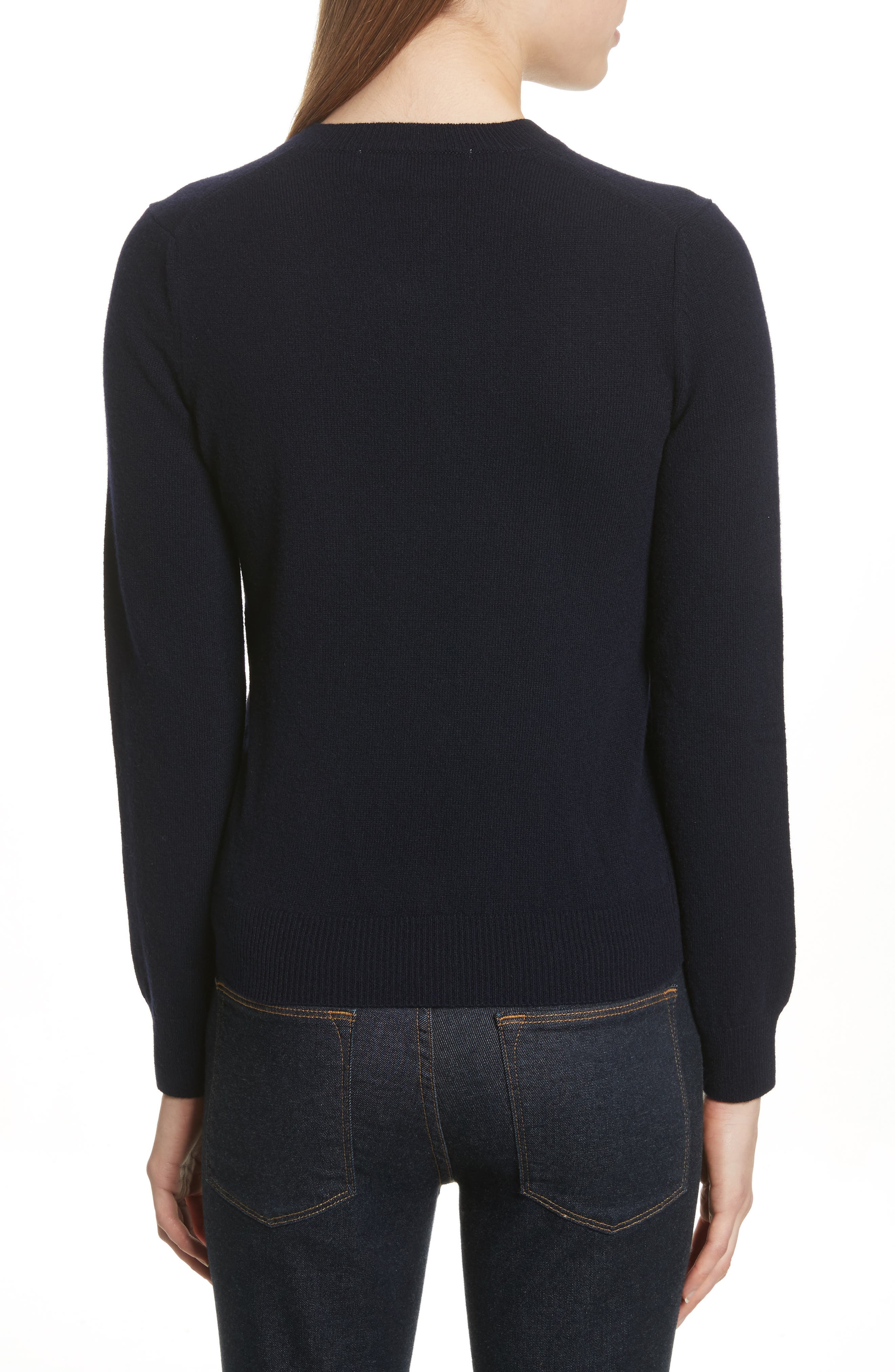 Comme des Garçons PLAY Wool Sweater,                             Alternate thumbnail 2, color,                             NAVY