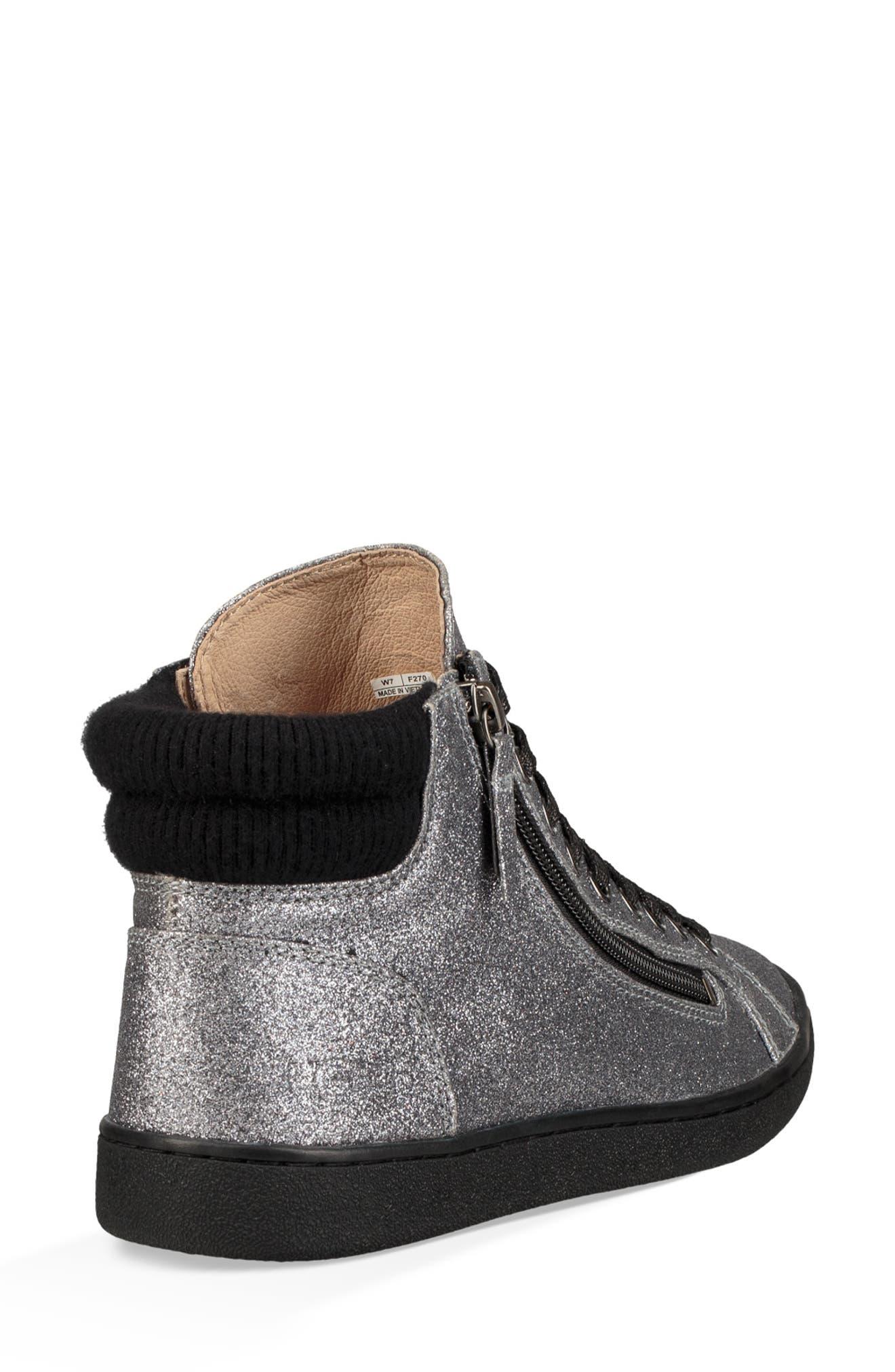Olive Glitter Sneaker,                             Alternate thumbnail 2, color,                             GUNMETAL FABRIC