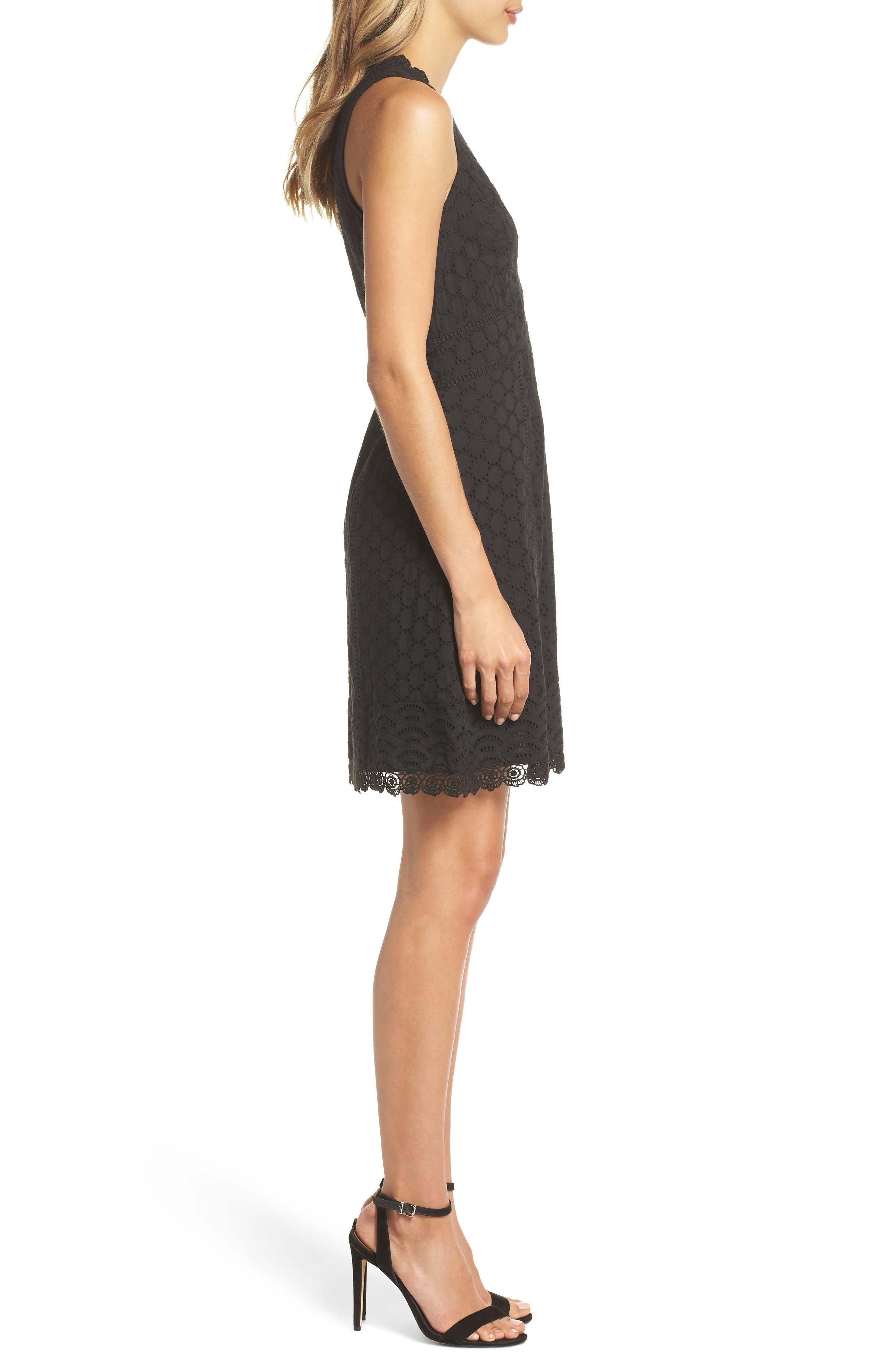 Zahara Eyelet & Lace A-Line Dress,                             Alternate thumbnail 3, color,                             BLACK