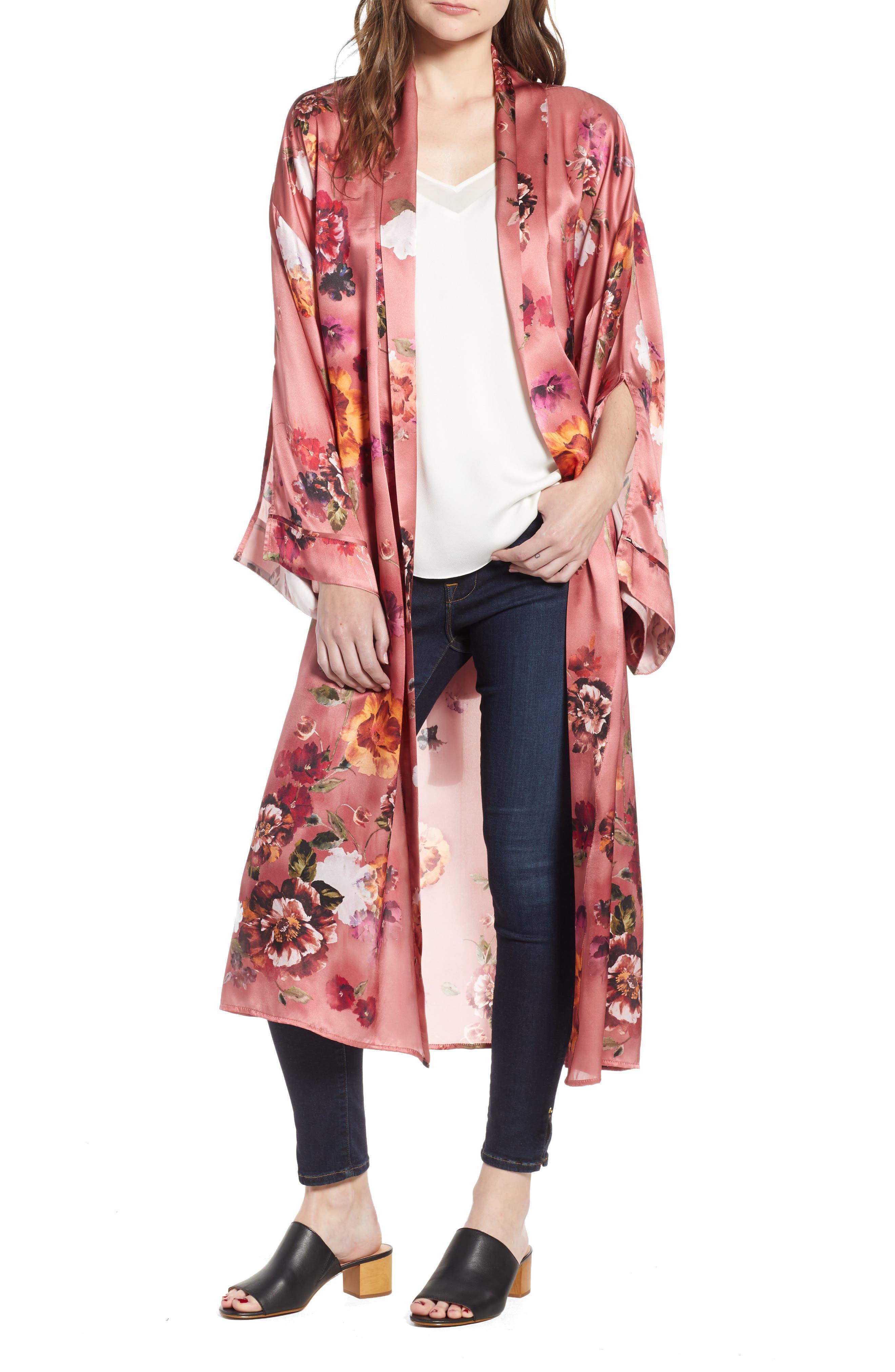 Print Long Silk Kimono,                             Main thumbnail 1, color,                             PINK AUTUMN BOUQUET