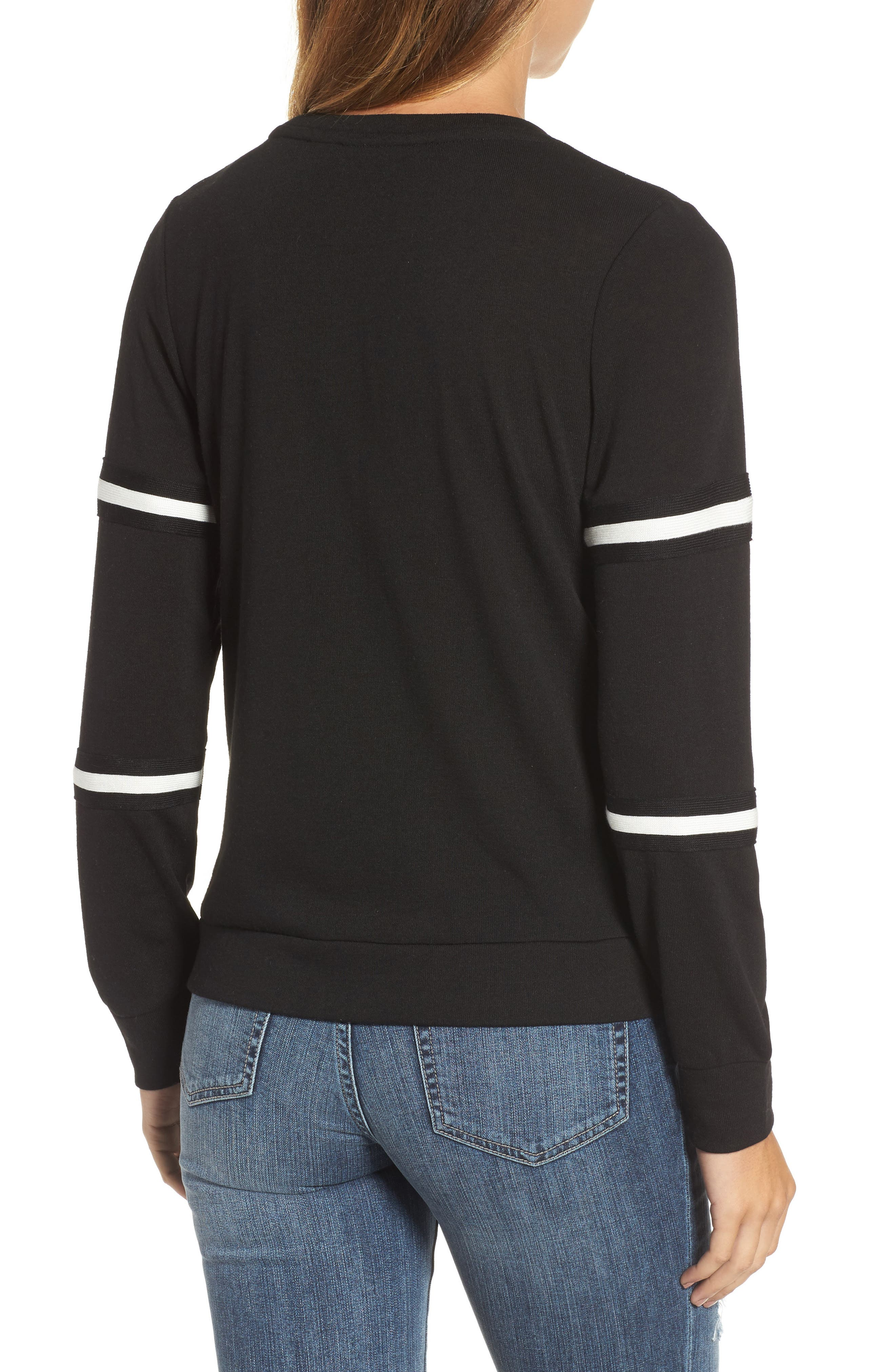 Double Stripe Sleeve Tee,                             Alternate thumbnail 2, color,                             001