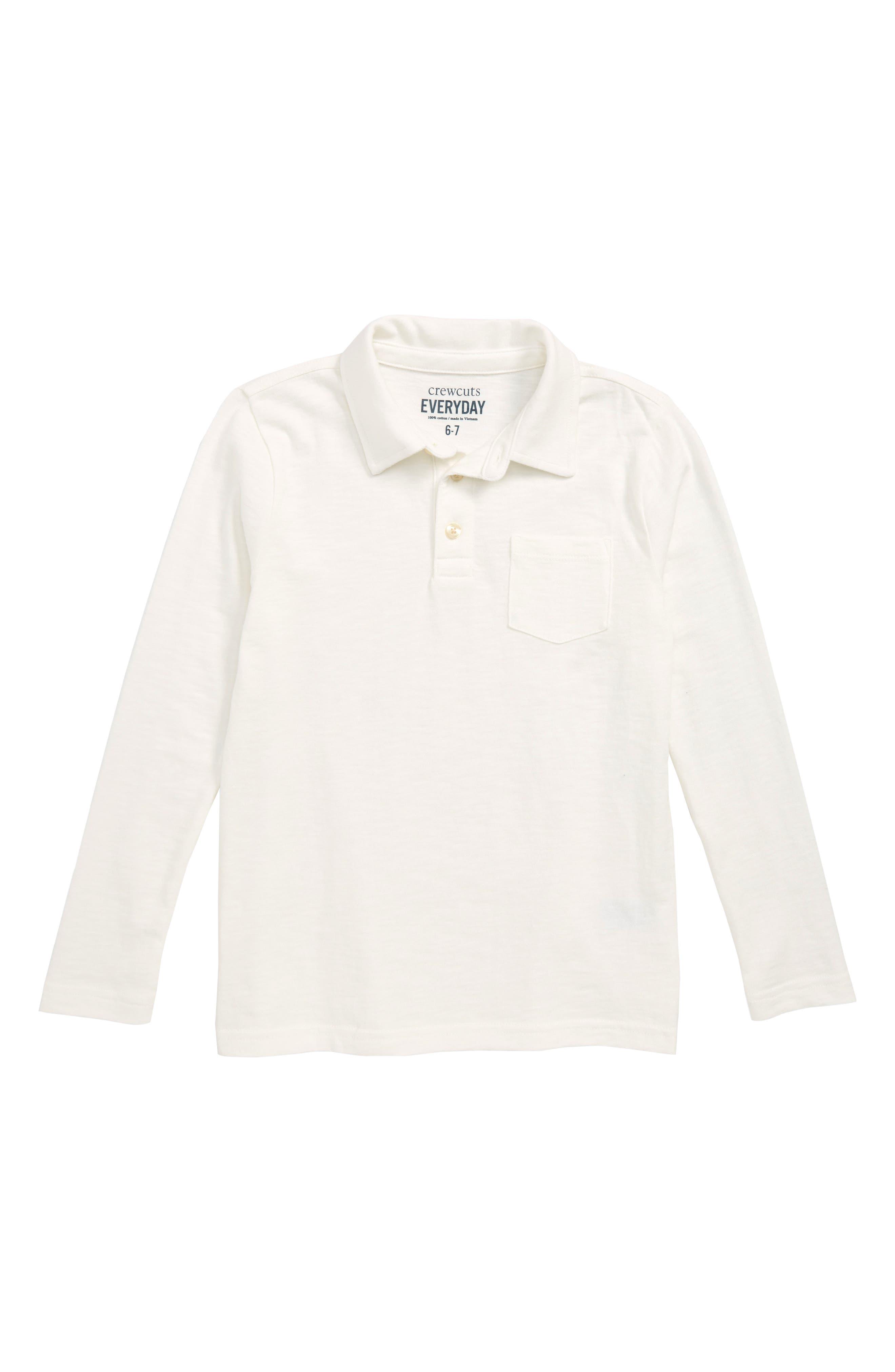 Long Sleeve Slub Cotton Polo,                             Main thumbnail 1, color,                             PLASTER WHITE