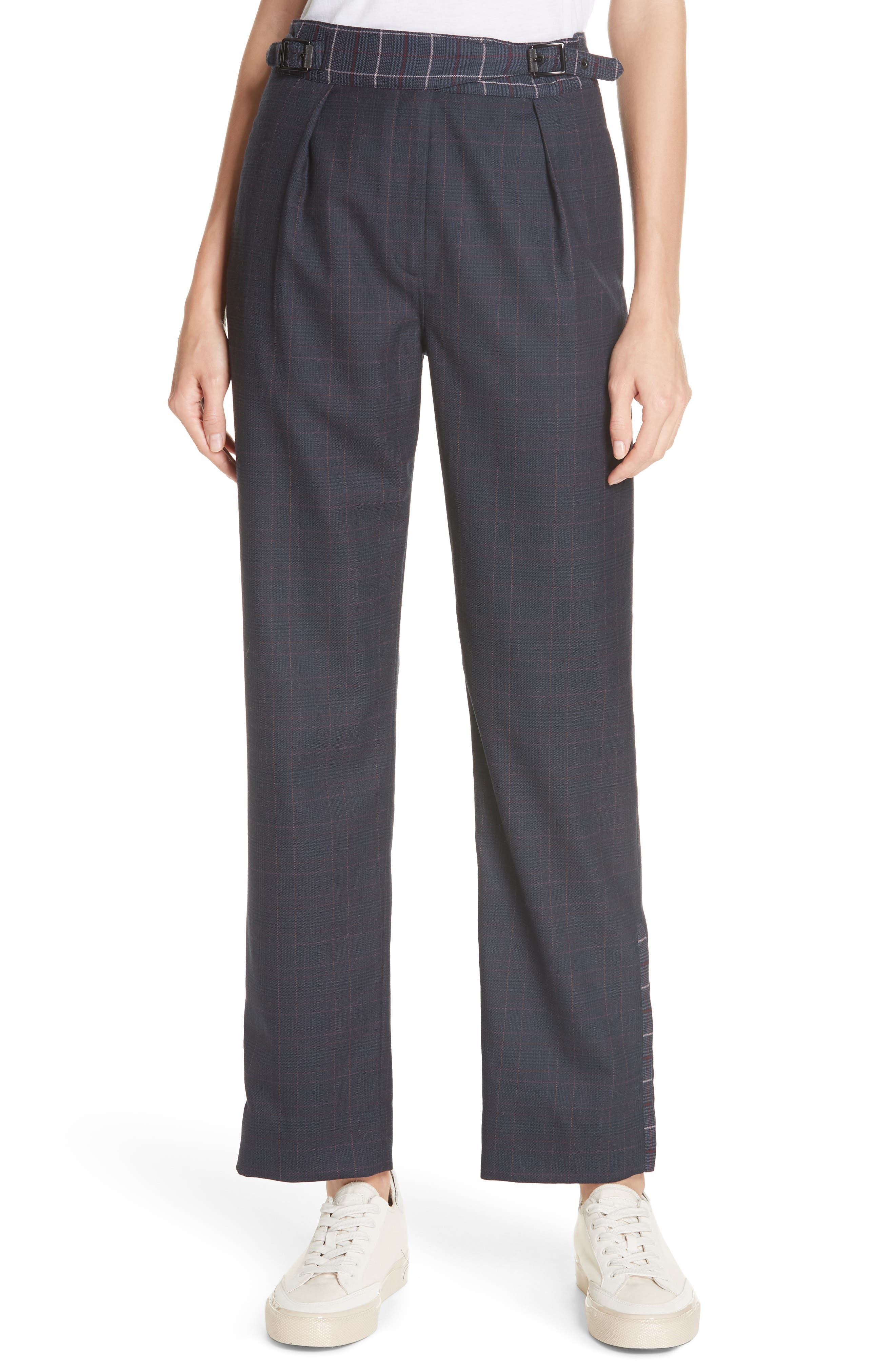 James Check Wool Straight-Leg Pants in Htpnk/ Nvychk