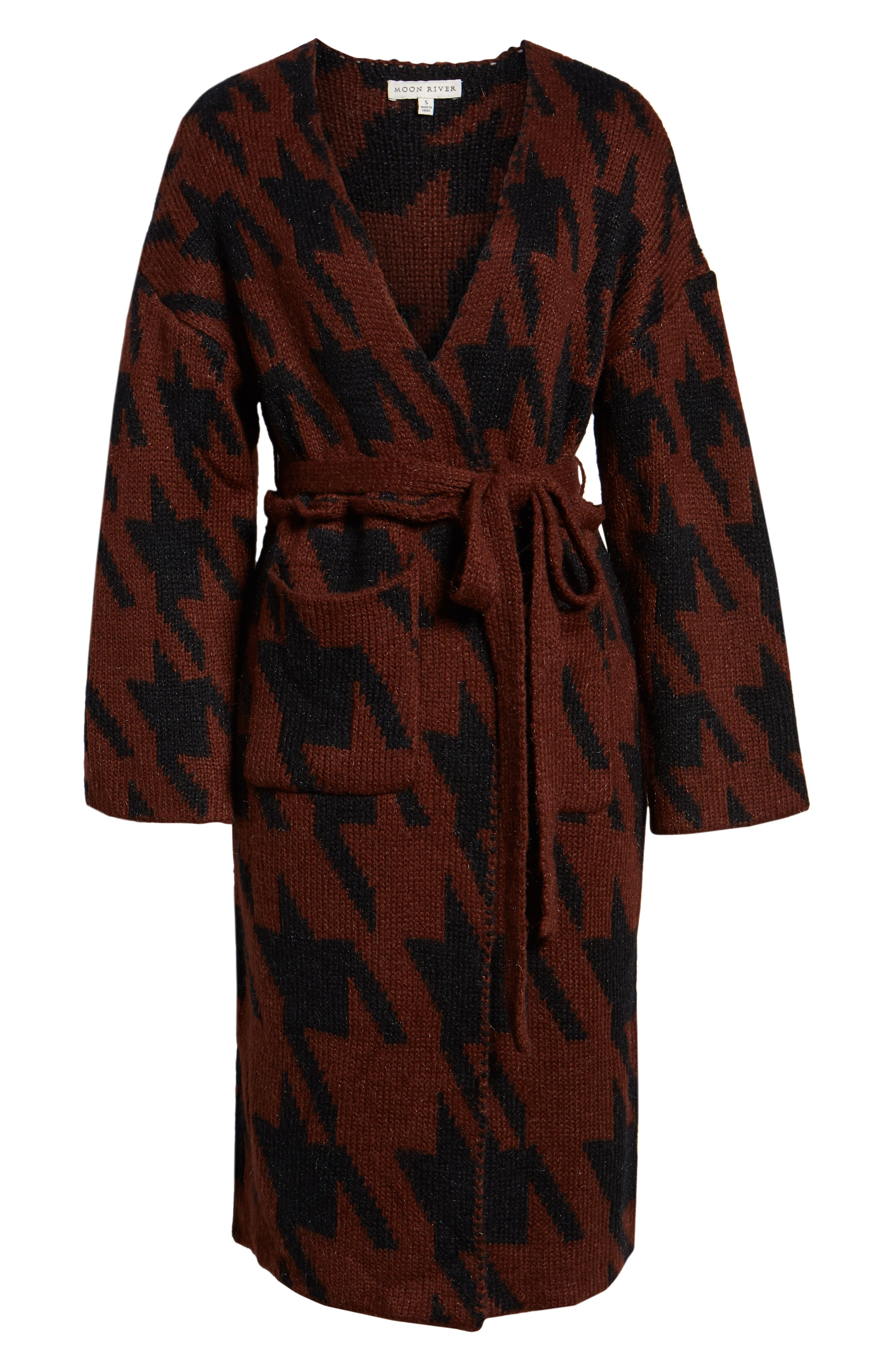 Houndstooth Belted Cardigan,                             Alternate thumbnail 6, color,                             RUST/ BLACK