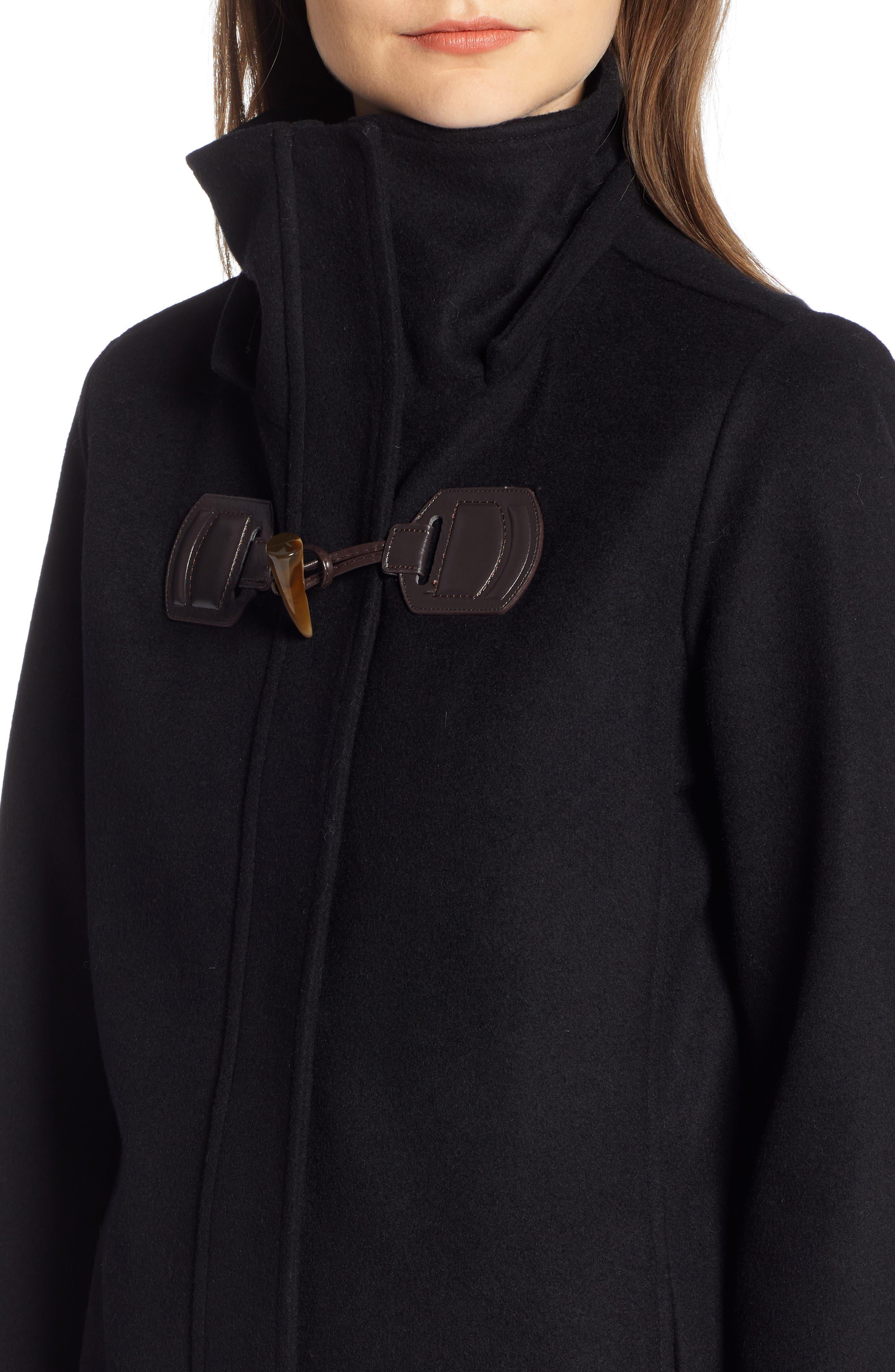 St Marie Wool Hooded Coat with Genuine Raccoon Fur Trim,                             Alternate thumbnail 4, color,                             BLACK