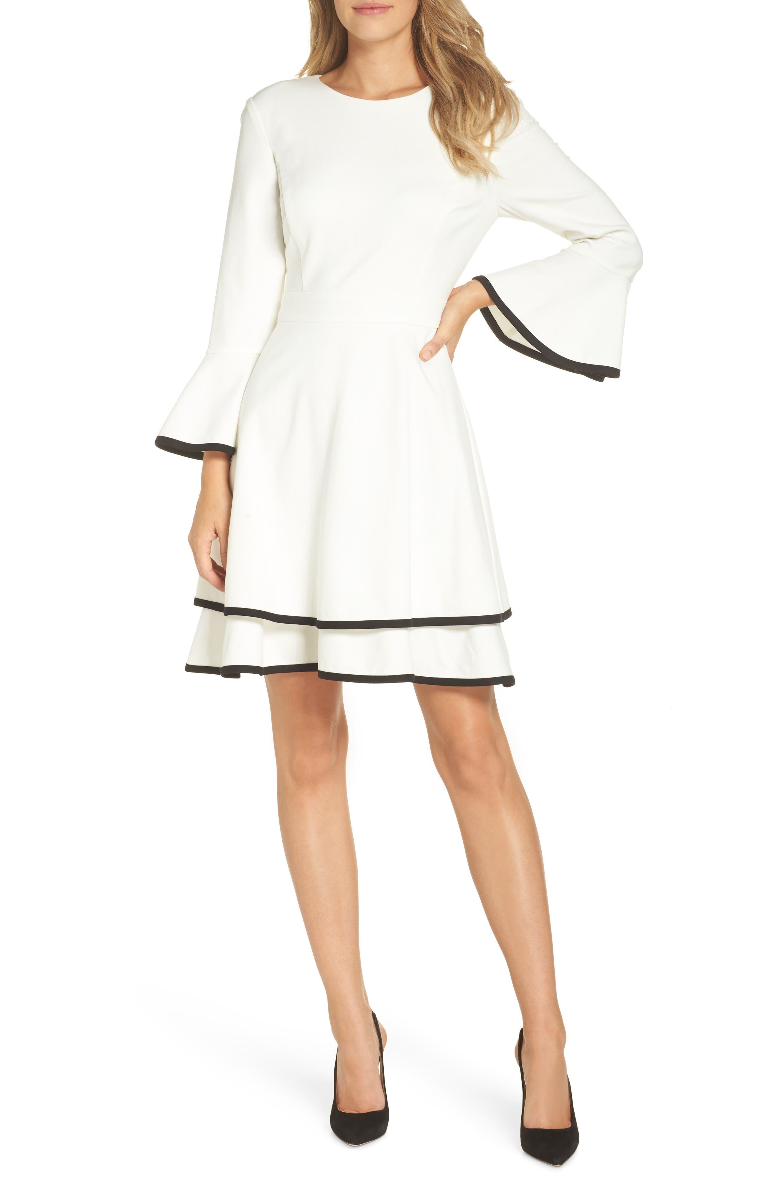 Eliza J Bell Sleeve Fit & Flare Dress, Ivory