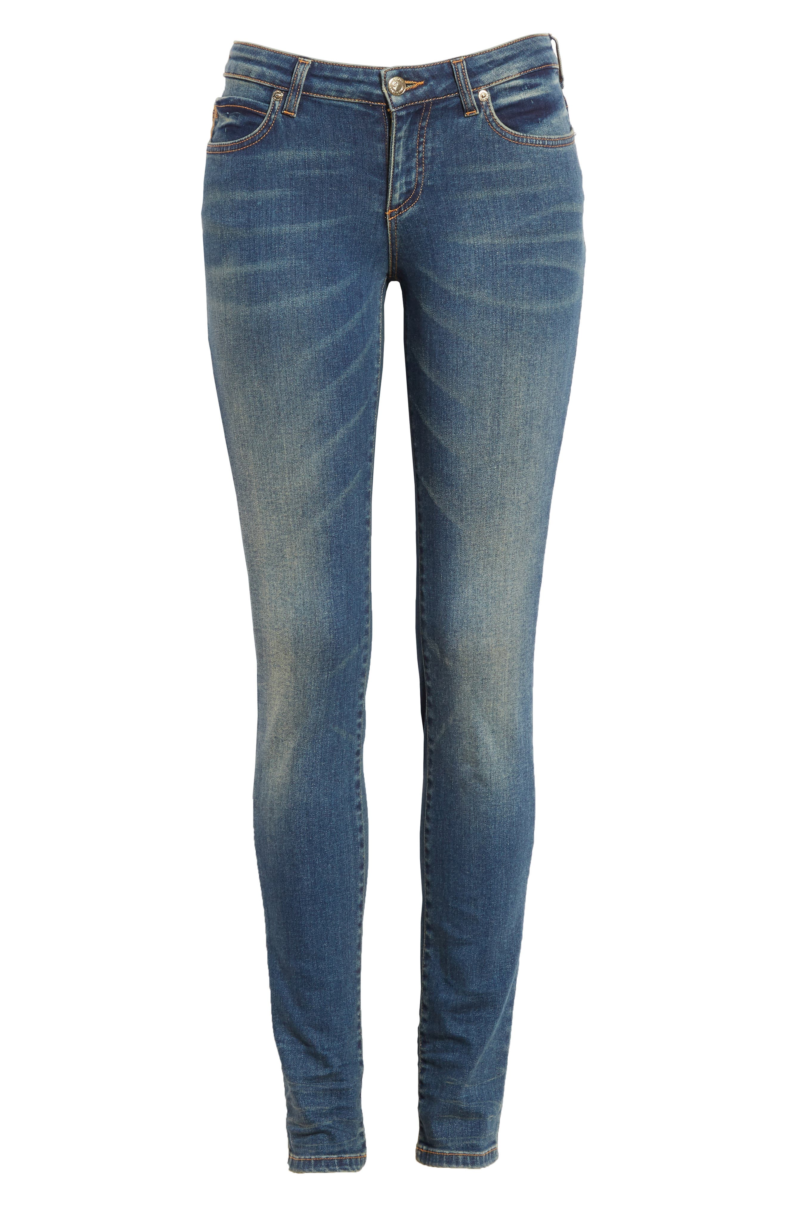 Studded Pocket Skinny Jeans,                             Alternate thumbnail 6, color,