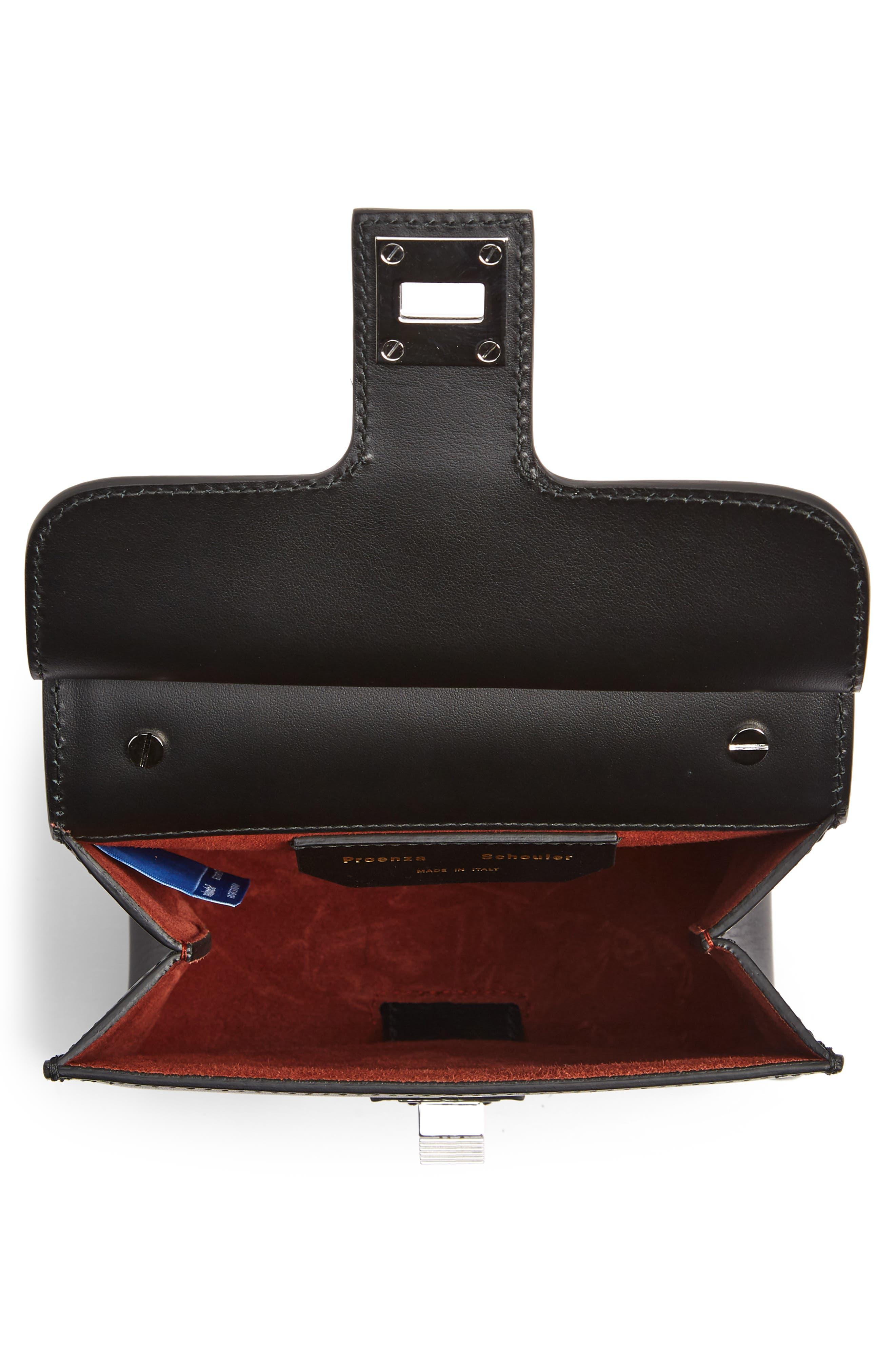 PS11 Box Leather Crossbody Bag,                             Alternate thumbnail 4, color,                             BLACK
