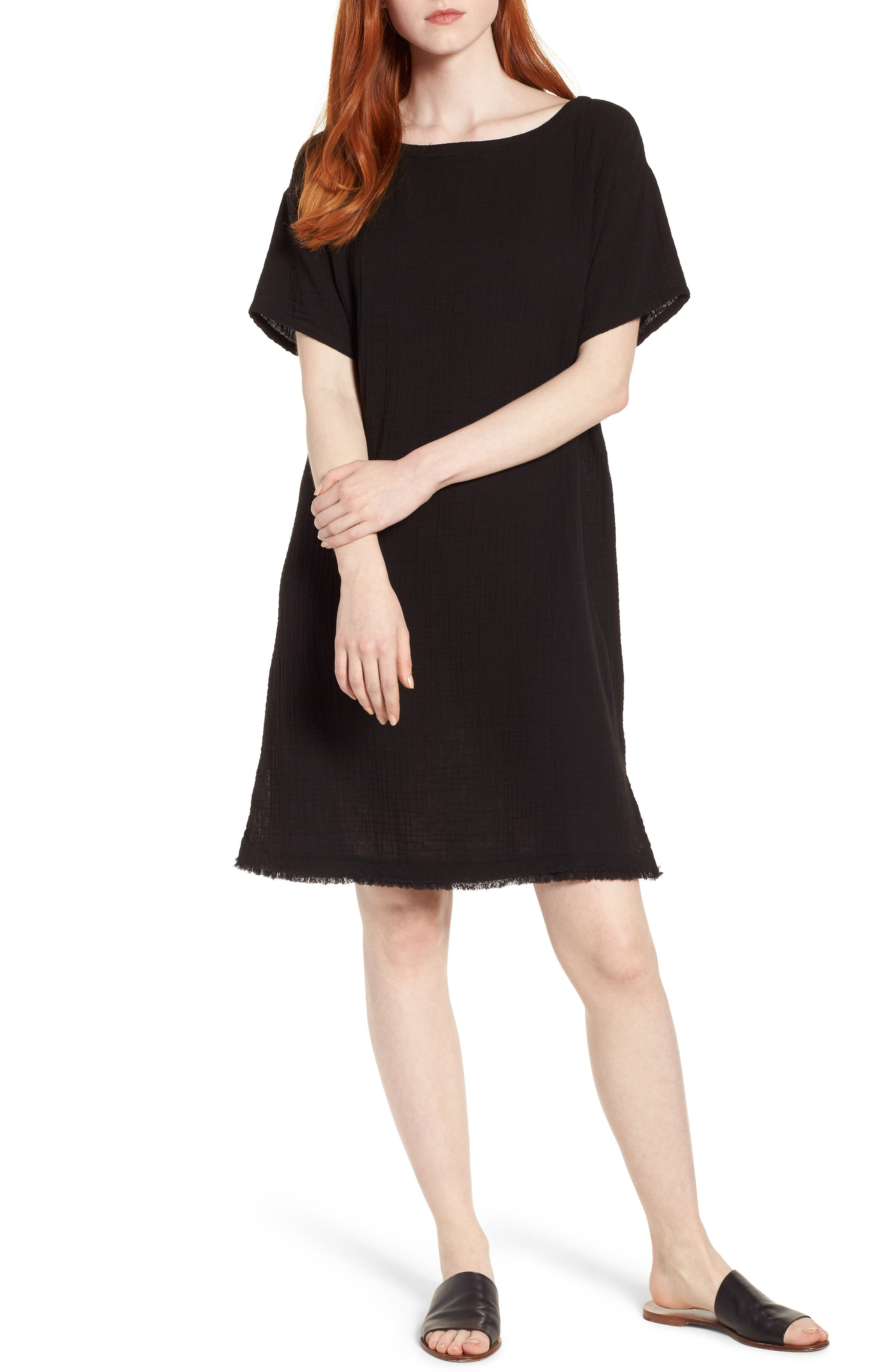 Organic Cotton Shift Dress,                             Main thumbnail 1, color,                             001