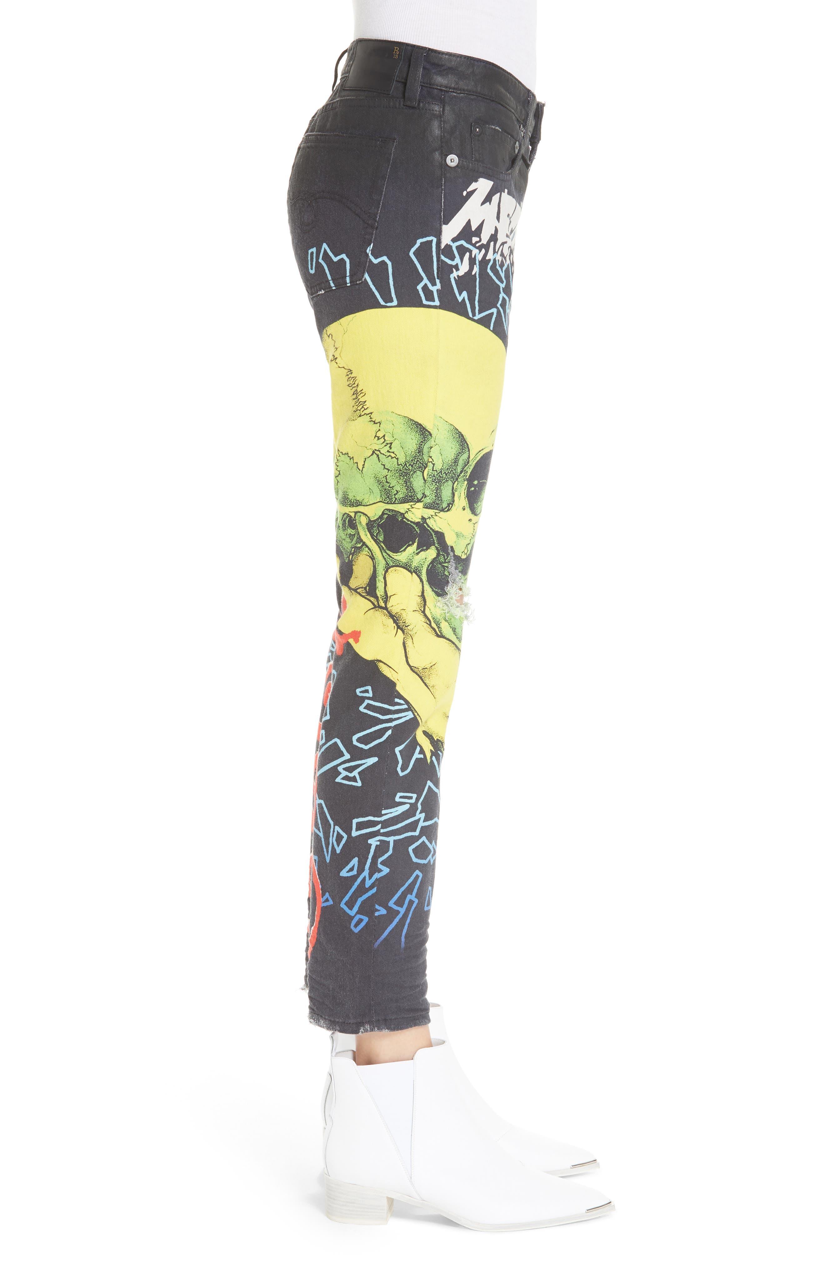 R13,                             Kate Print Skinny Jeans,                             Alternate thumbnail 3, color,                             001