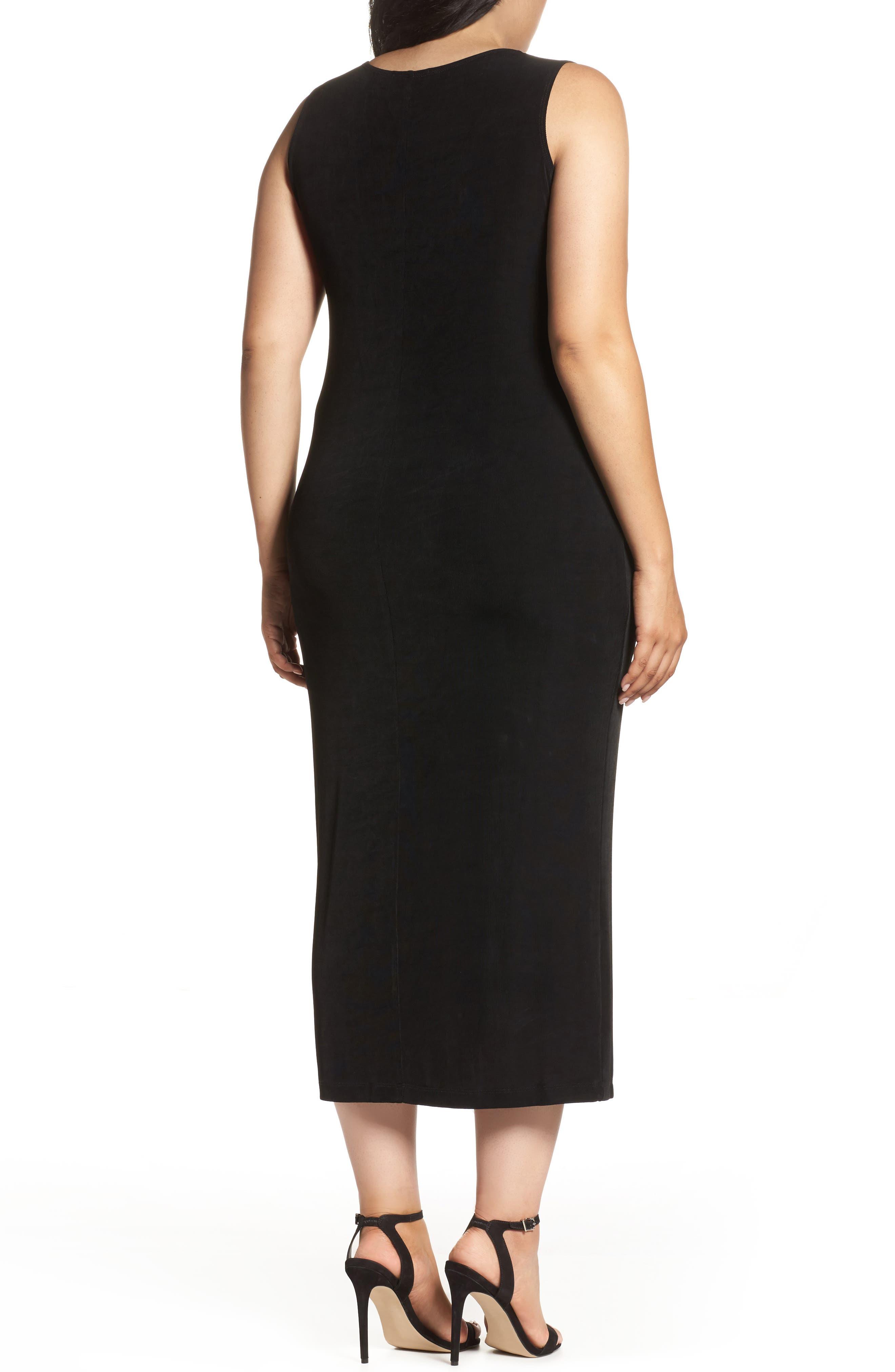 Sleeveless Maxi Tank Dress,                             Alternate thumbnail 3, color,                             BLACK