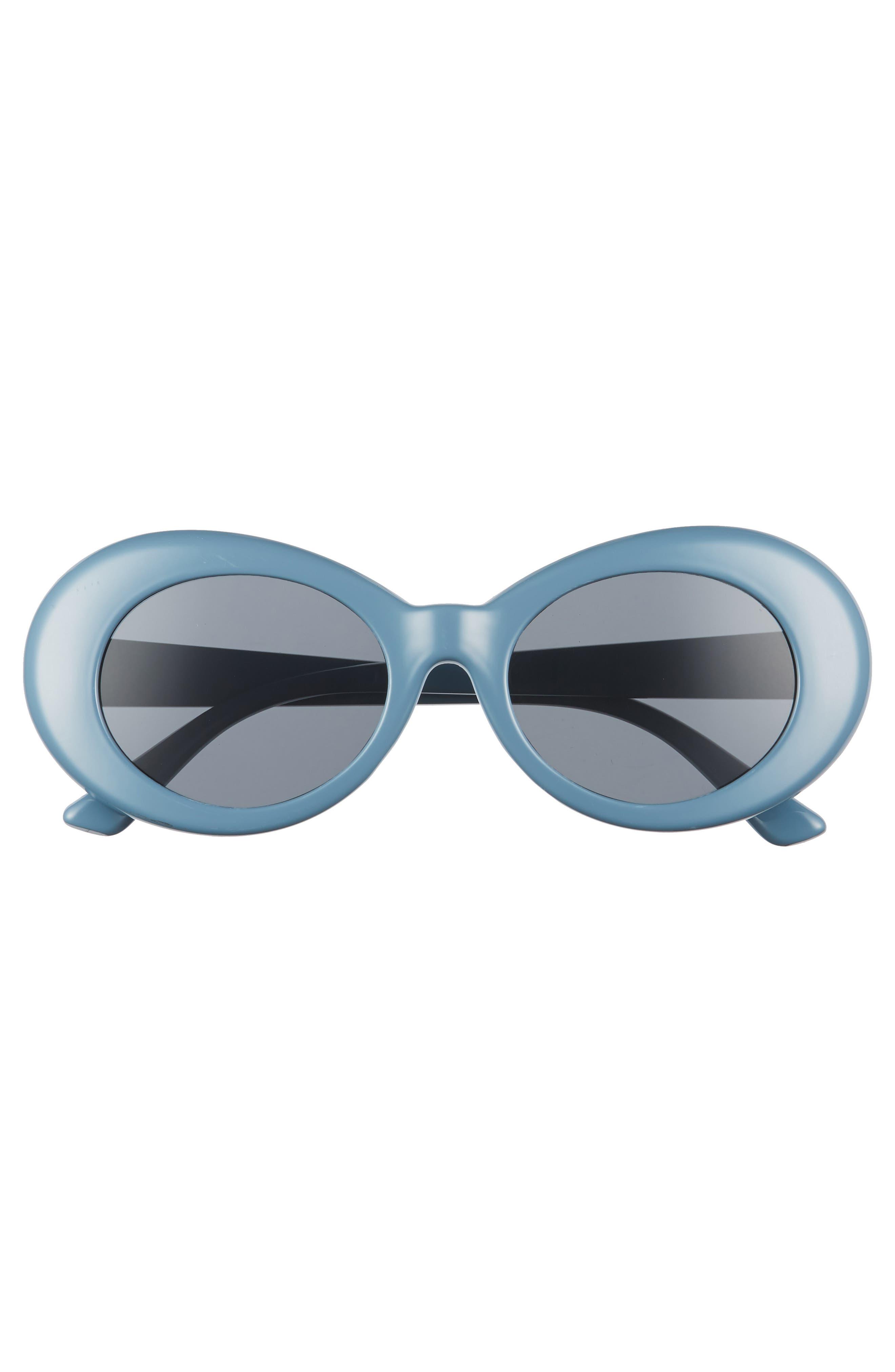 50mm Round Sunglasses,                             Alternate thumbnail 3, color,                             MARINE BLUE