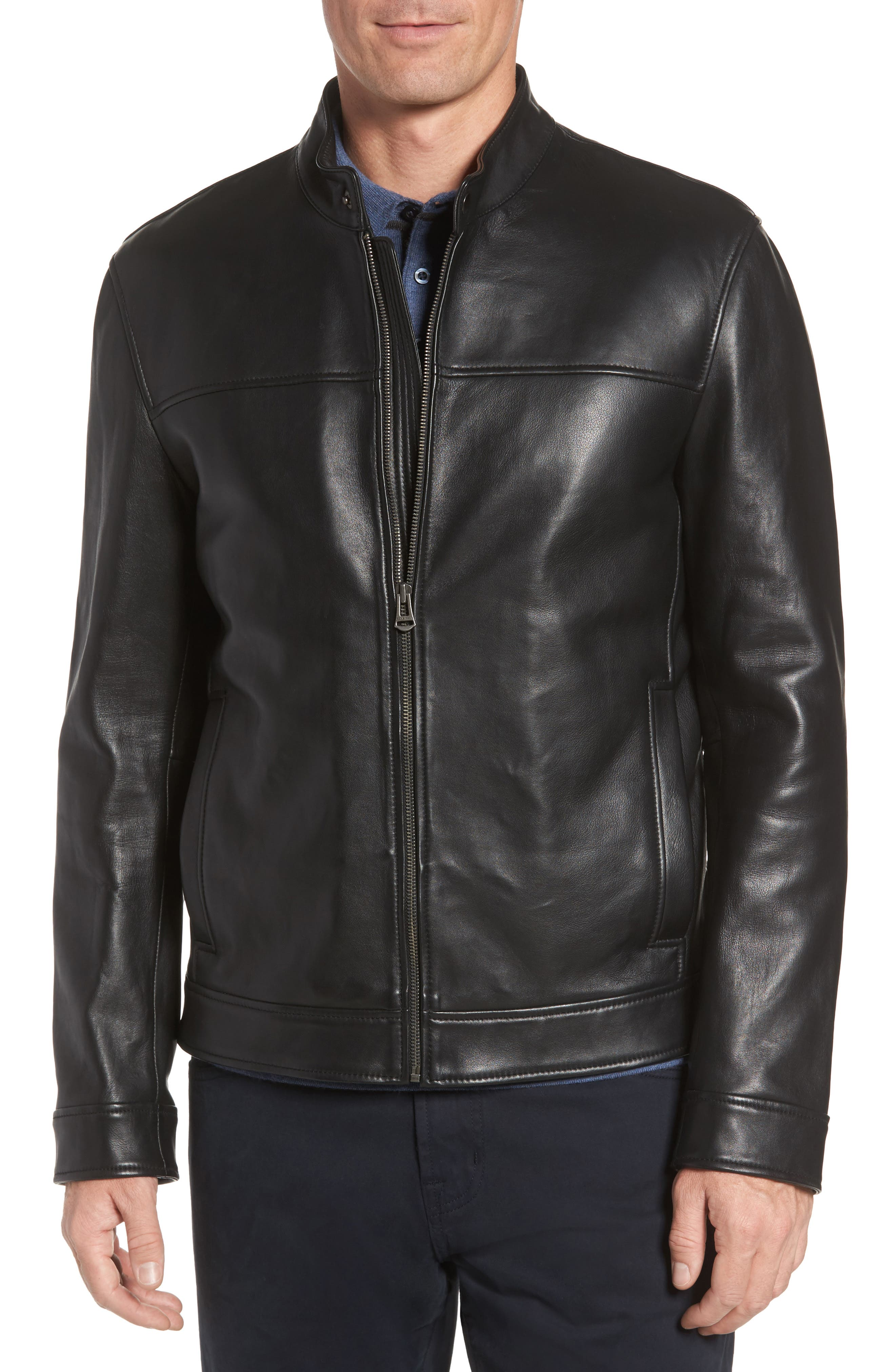 Bonded Leather Moto Jacket,                         Main,                         color, BLACK