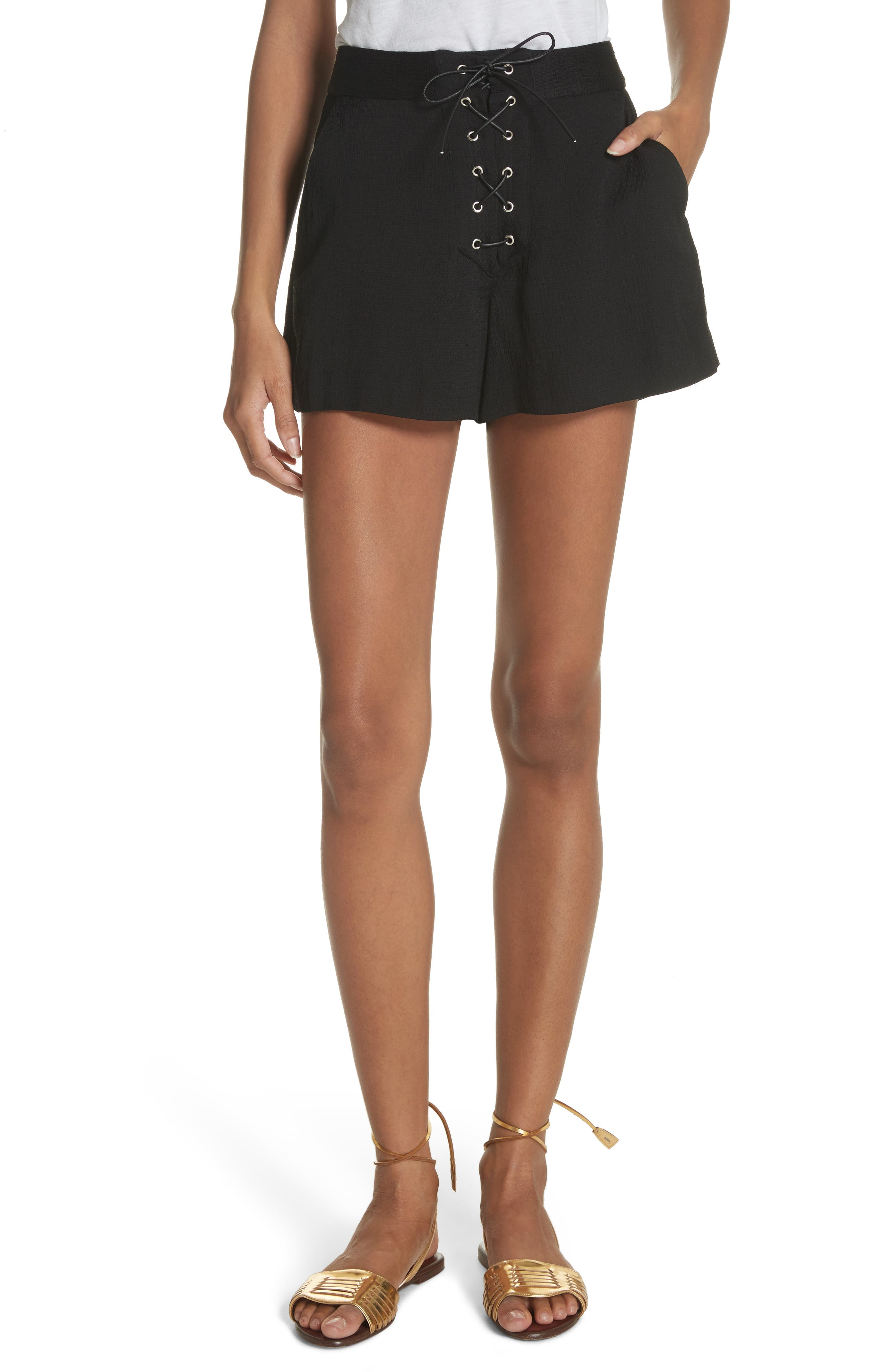 Lulu Lace-Up Shorts,                         Main,                         color, 001
