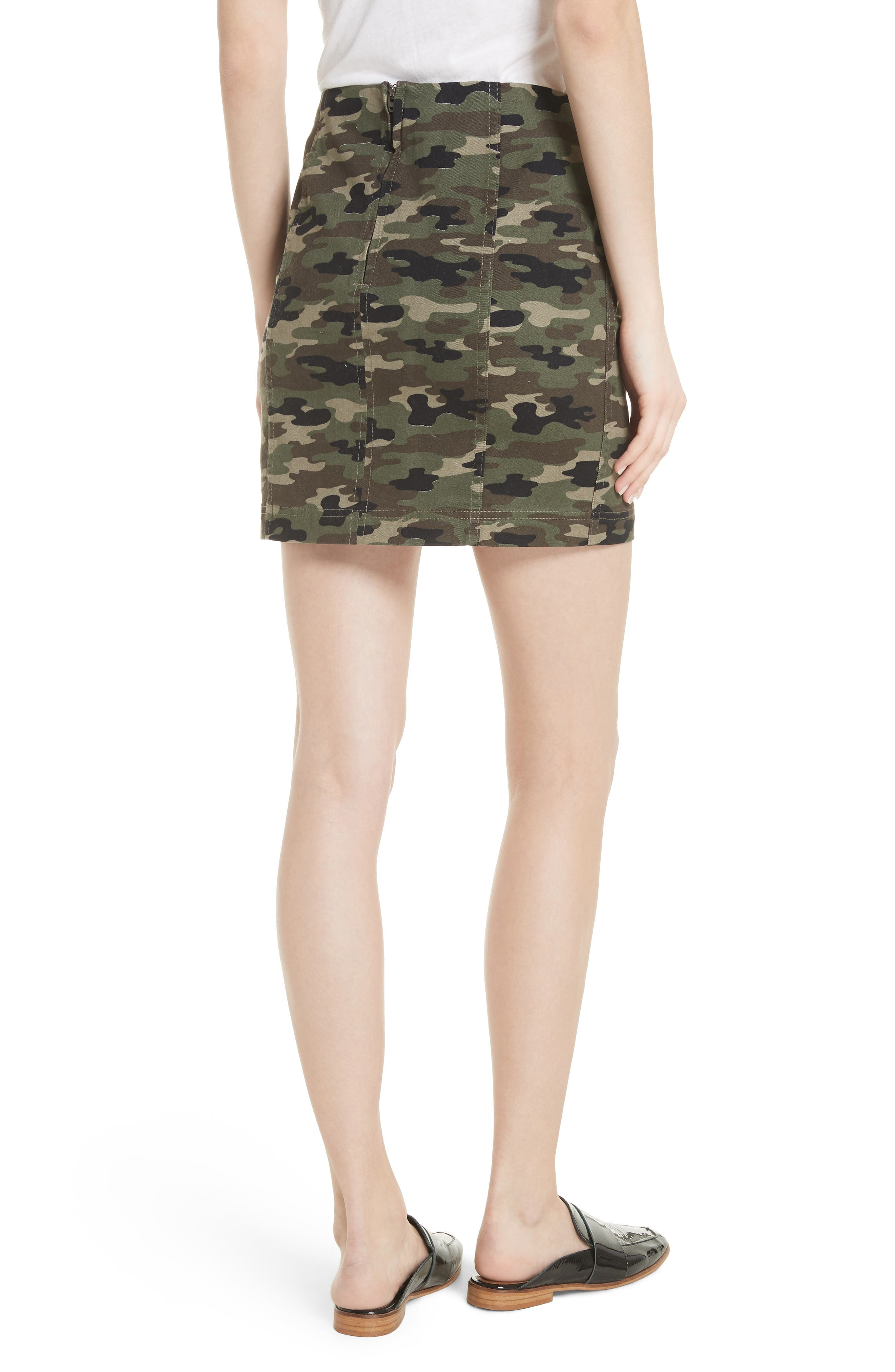 We the Free by Free People Modern Femme Camo Skirt,                             Alternate thumbnail 2, color,                             GREEN