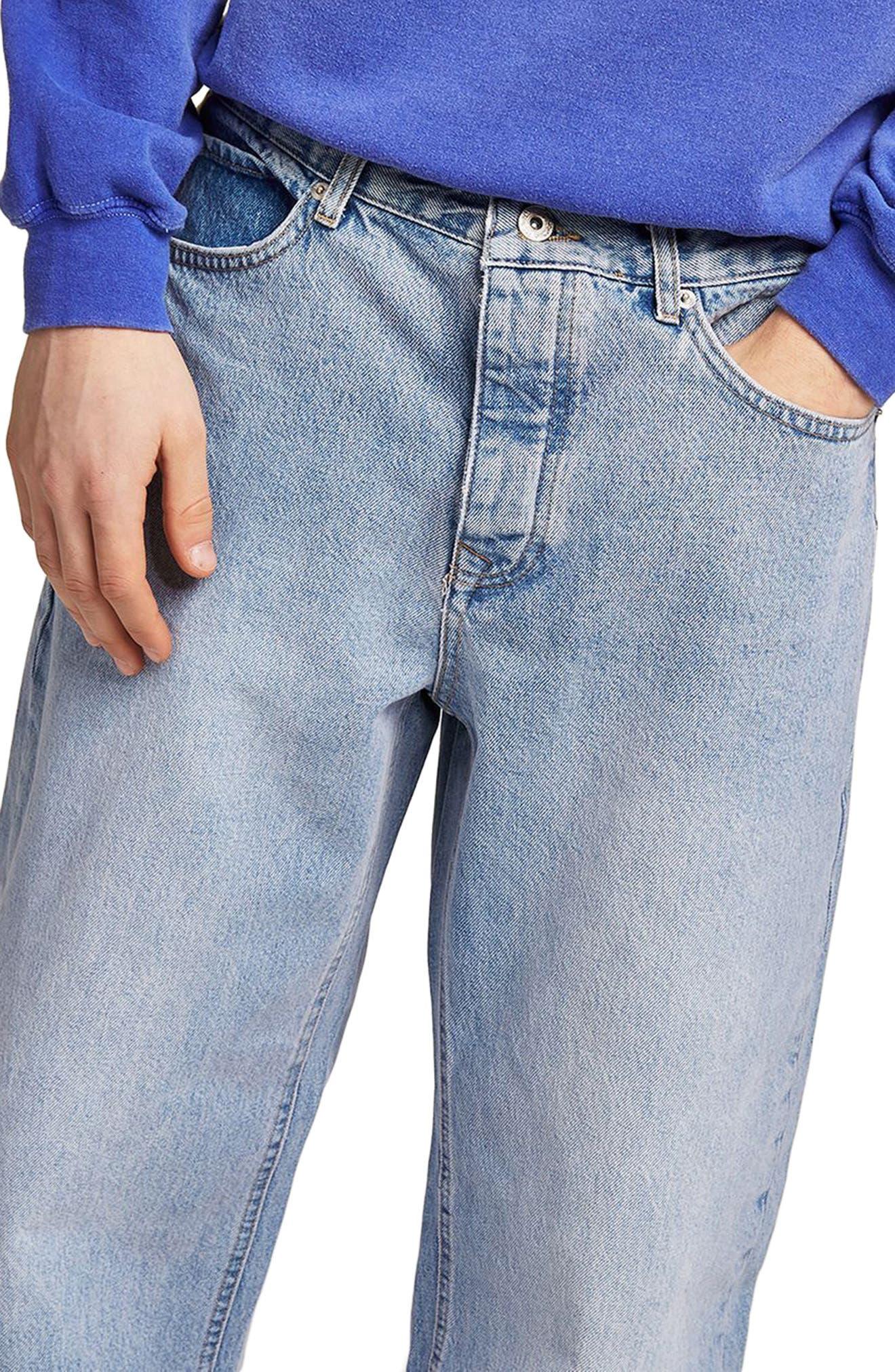 Baggy Fit Jeans,                             Alternate thumbnail 3, color,                             BLUE