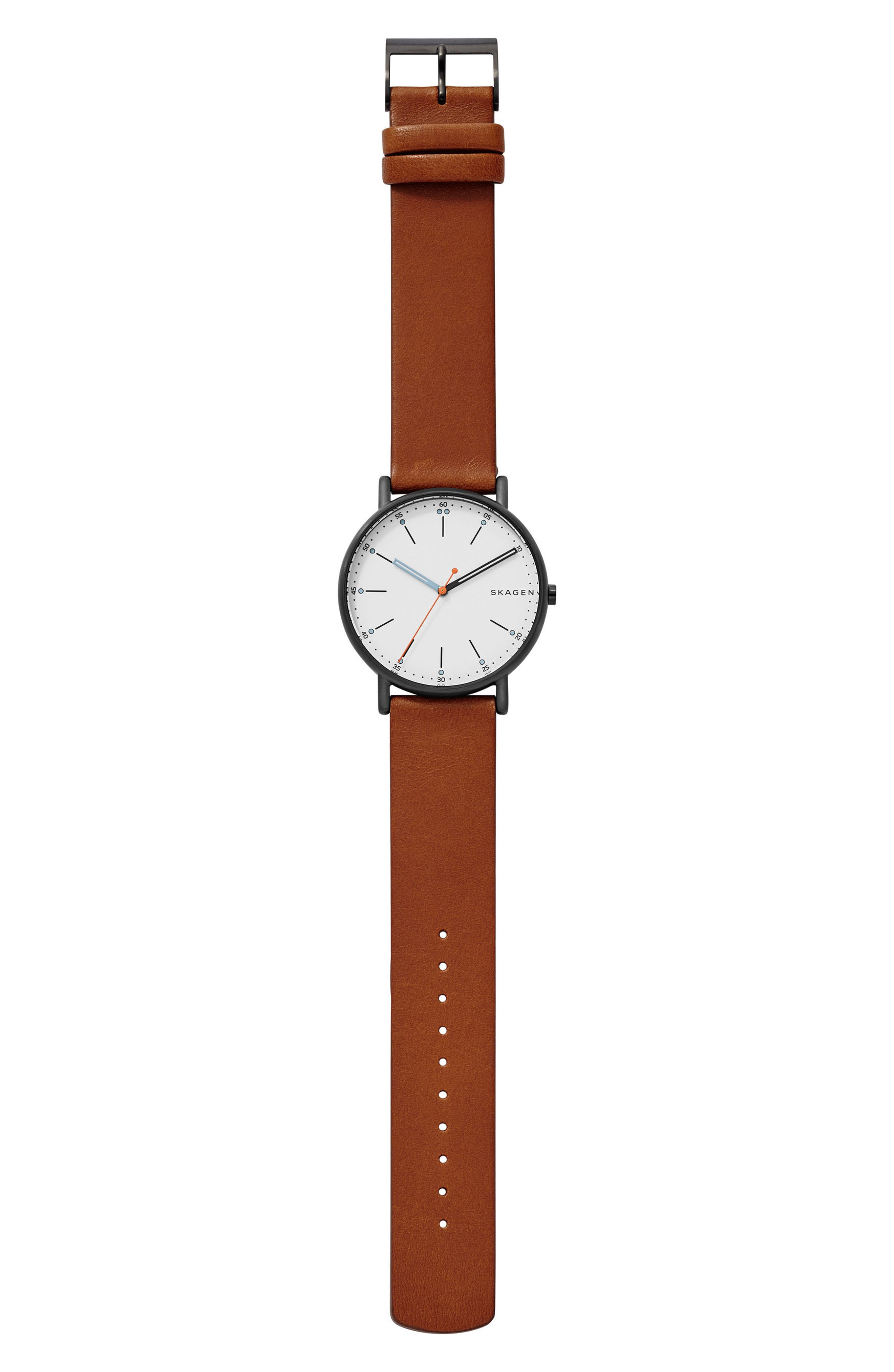 Signatur Leather Strap Watch, 40mm,                             Alternate thumbnail 7, color,