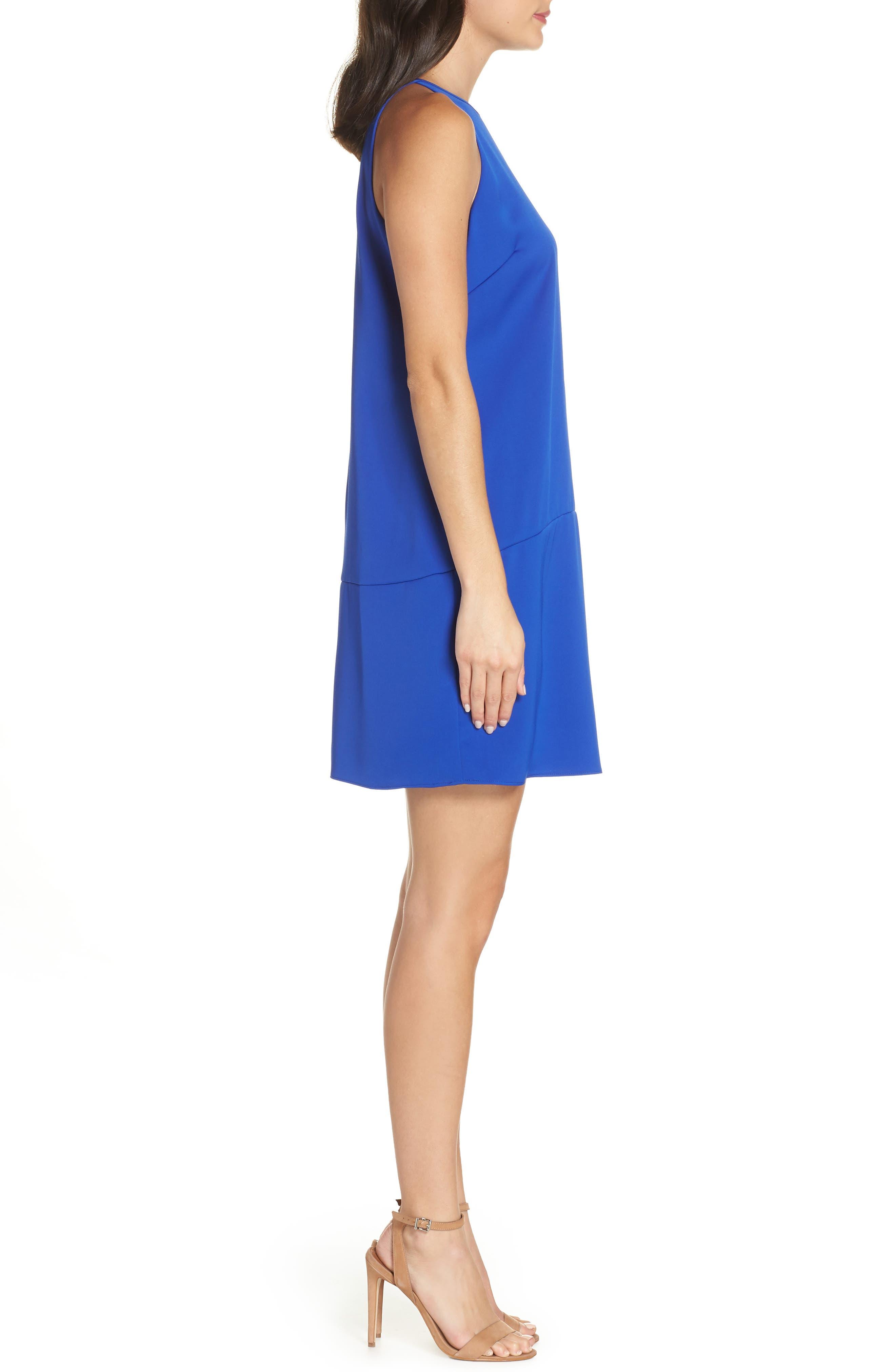 Keyhole Shift Dress,                             Alternate thumbnail 3, color,                             ROYAL BLUE