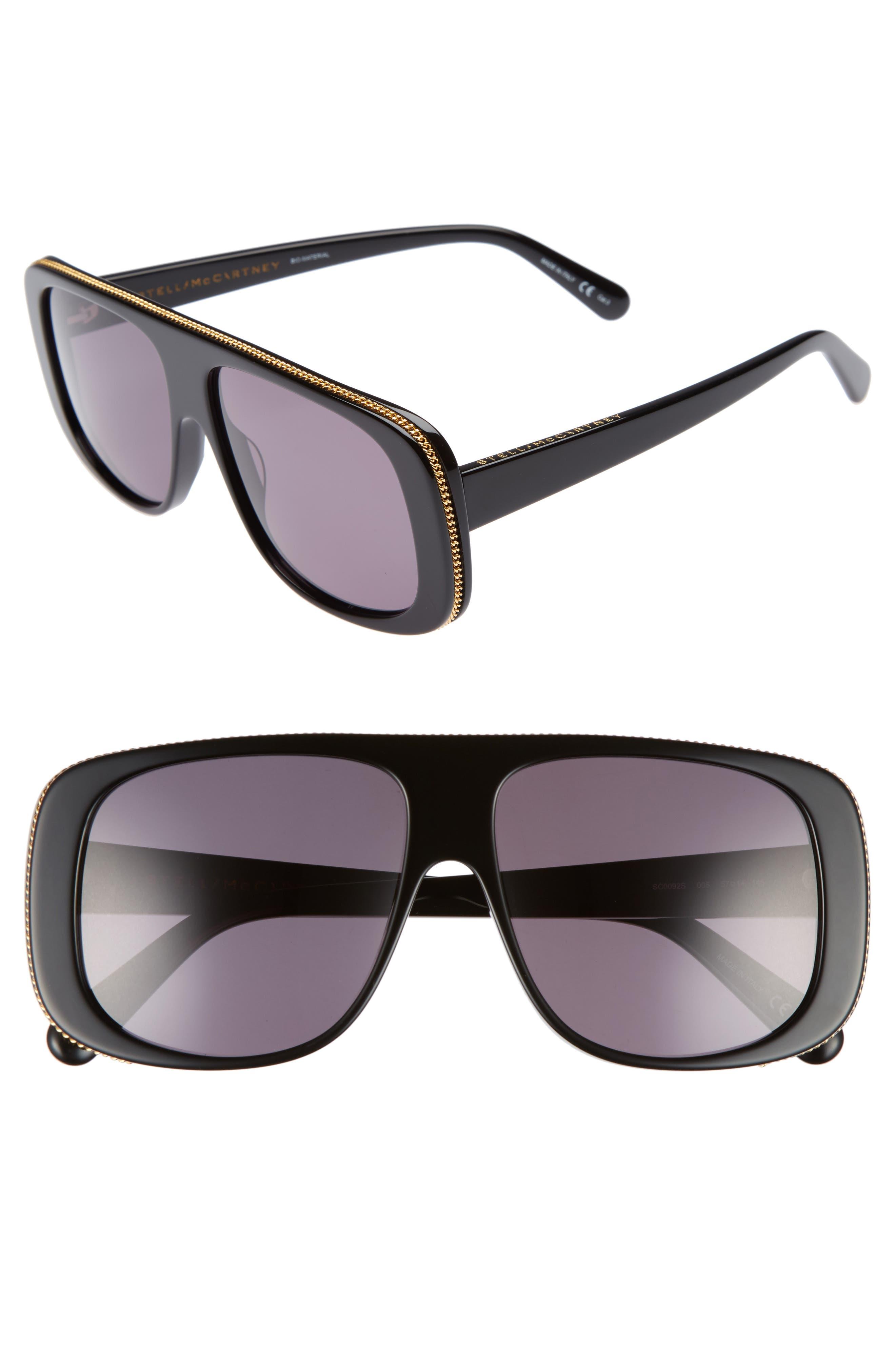 57mm Flat Top Sunglasses,                             Main thumbnail 1, color,                             BLACK/ GREY