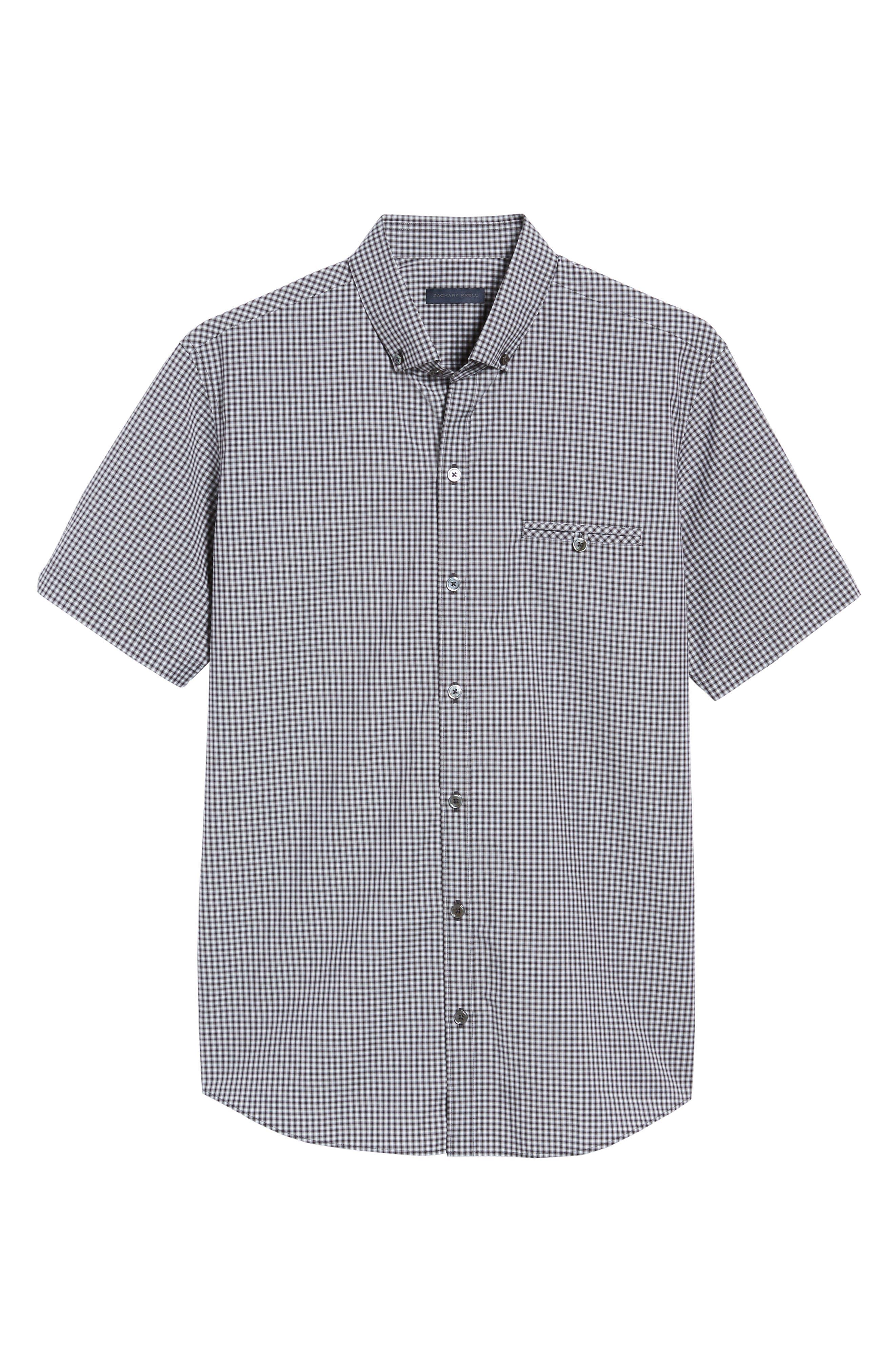 Ahmed Slim Fit Plaid Sport Shirt,                             Alternate thumbnail 6, color,                             021