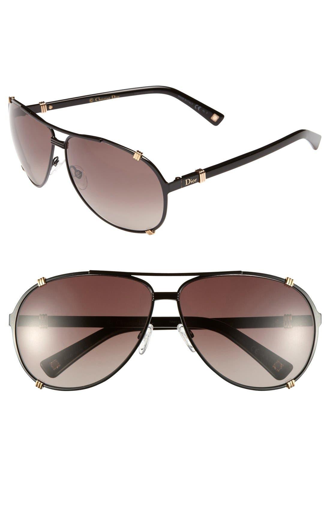 'Chicago' 63mm Metal Aviator Sunglasses,                         Main,                         color, 001